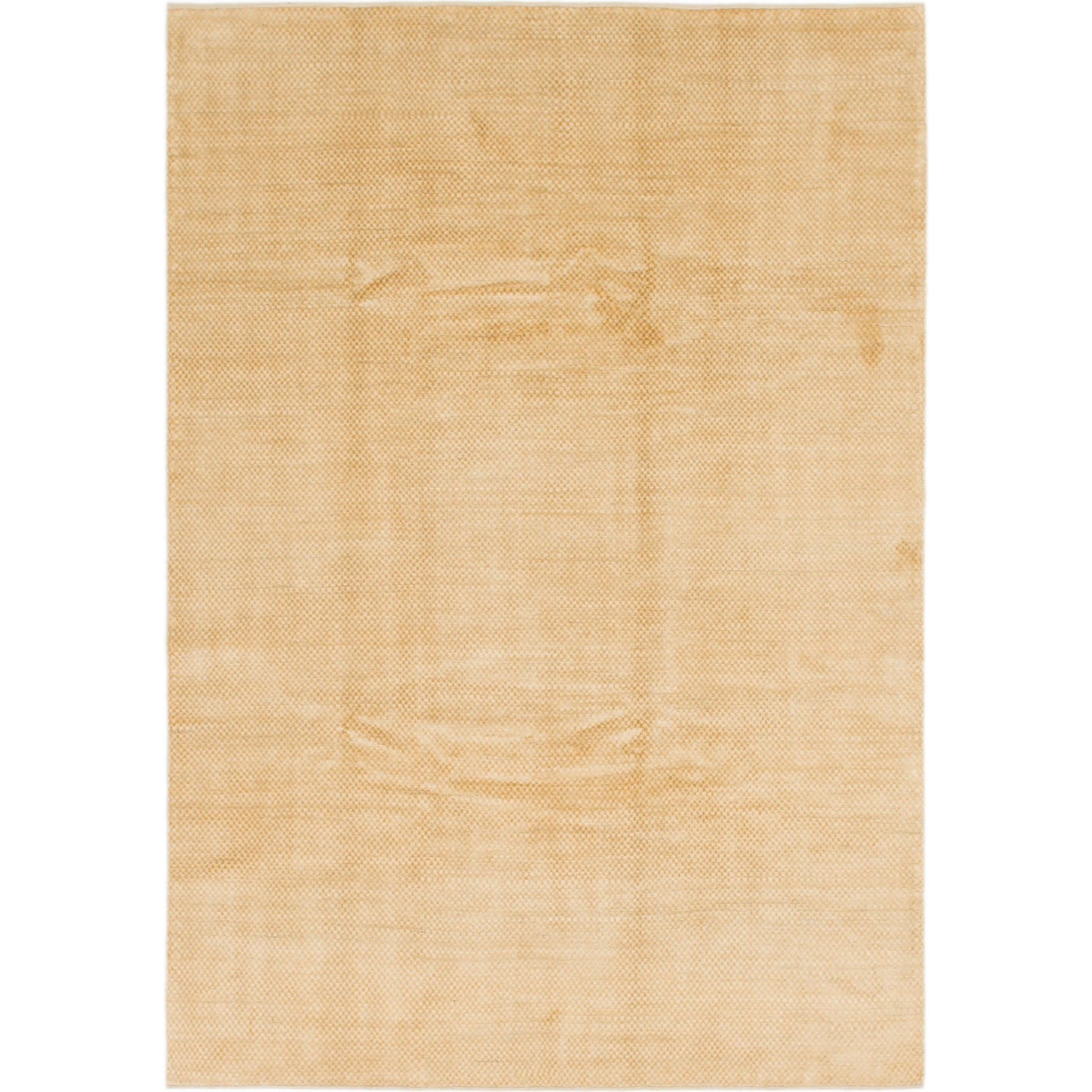 Hand Knotted Kashkuli Gabbeh Wool Area Rug - 6 8 x 9 8 (Gold - 6 8 x 9 8)