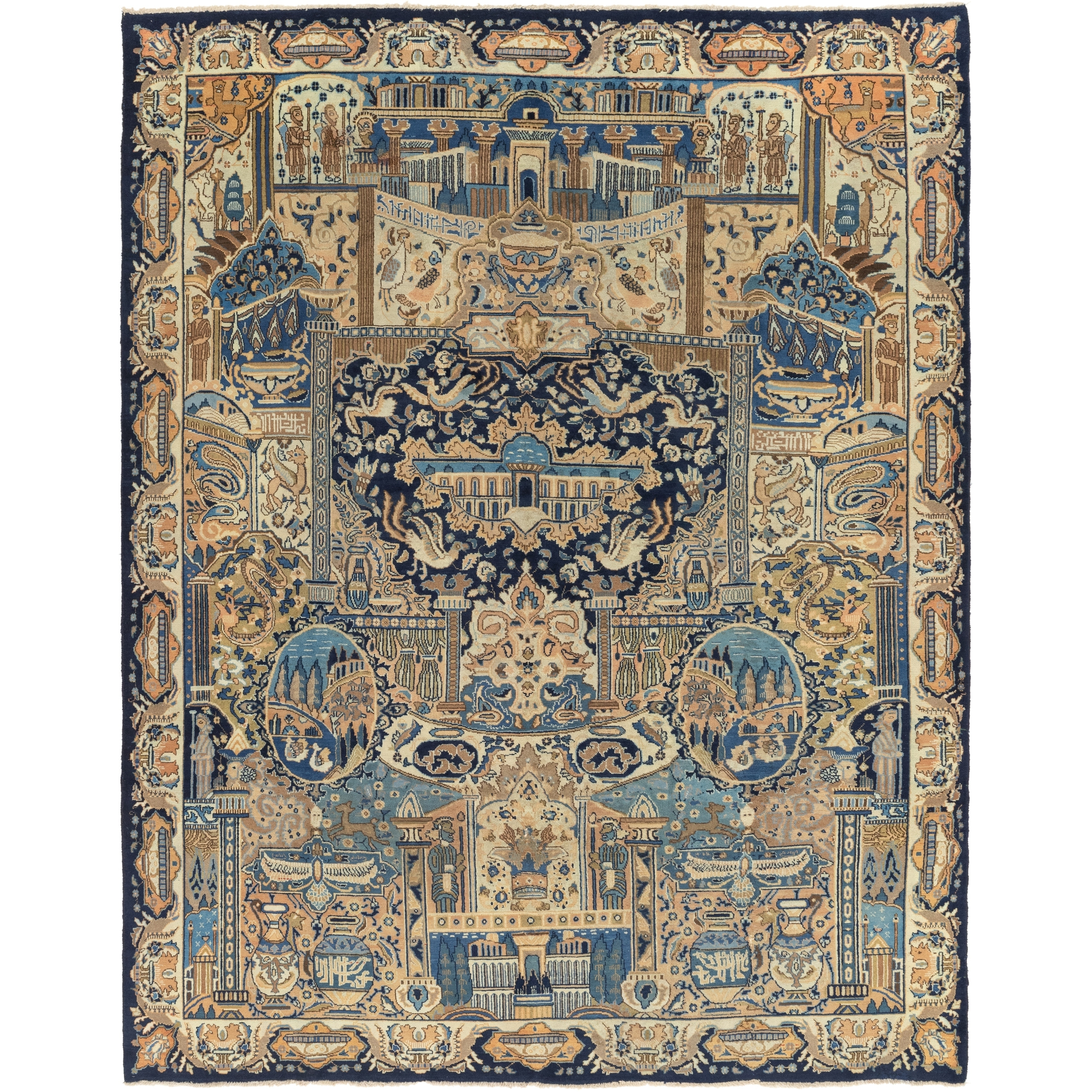 Hand Knotted Kashmar Semi Antique Wool Area Rug - 9 7 x 12 5 (Blue - 9 7 x 12 5)
