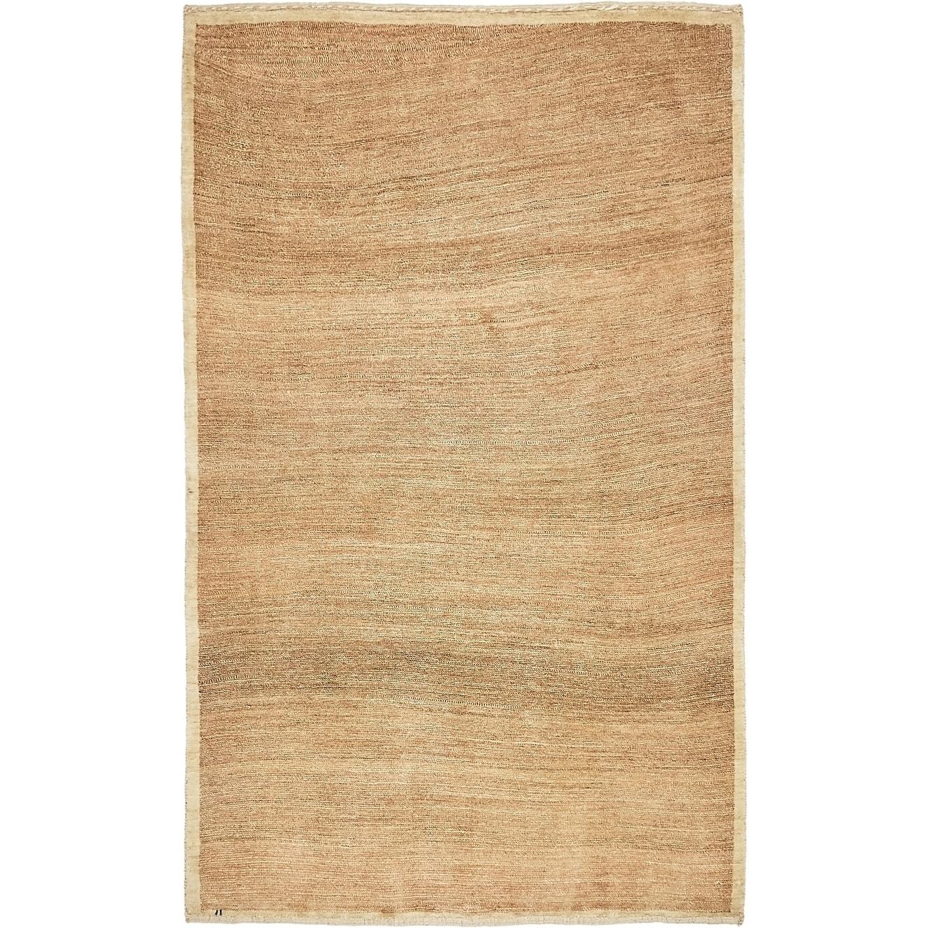 Hand Knotted Kashkuli Gabbeh Wool Area Rug - 3 8 x 6 (Dark Beige - 3 8 x 6)