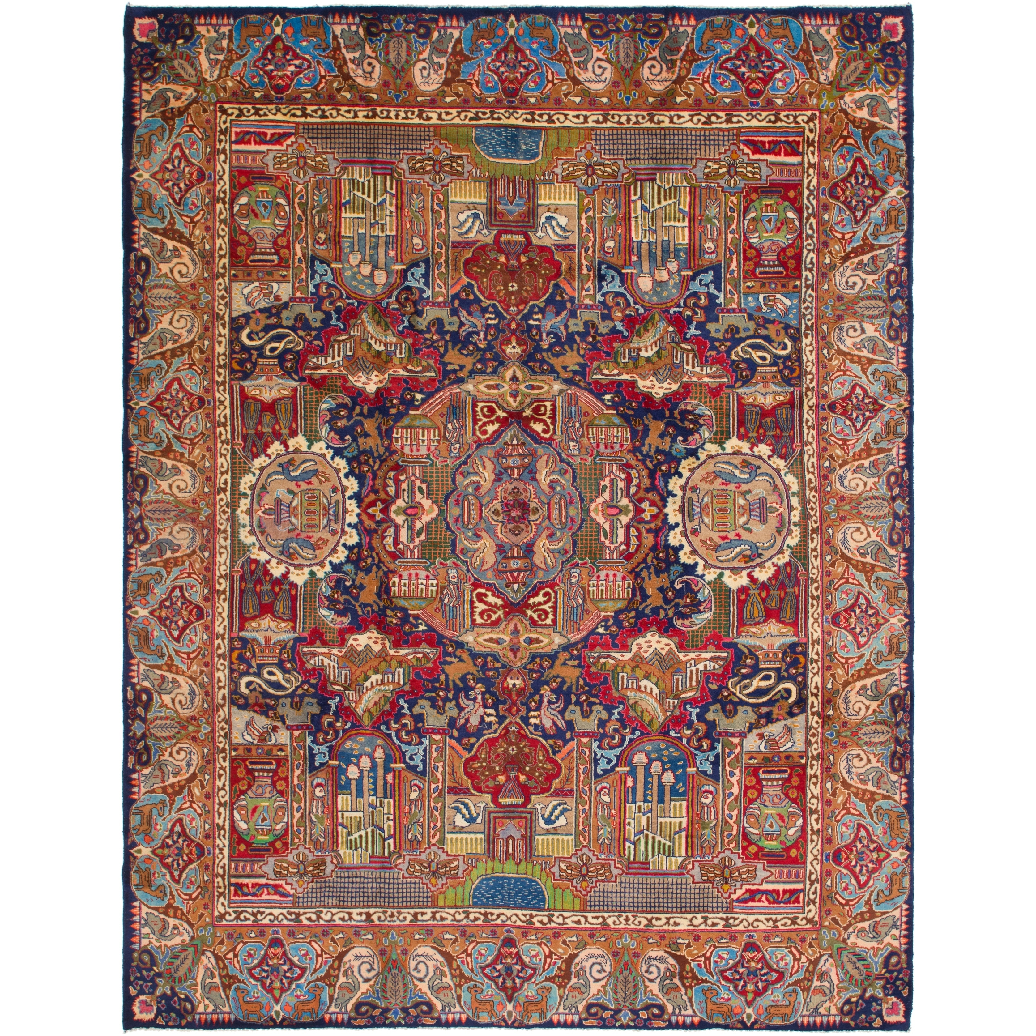 Hand Knotted Kashmar Semi Antique Wool Area Rug - 9 10 x 12 7 (Navy blue - 9 10 x 12 7)