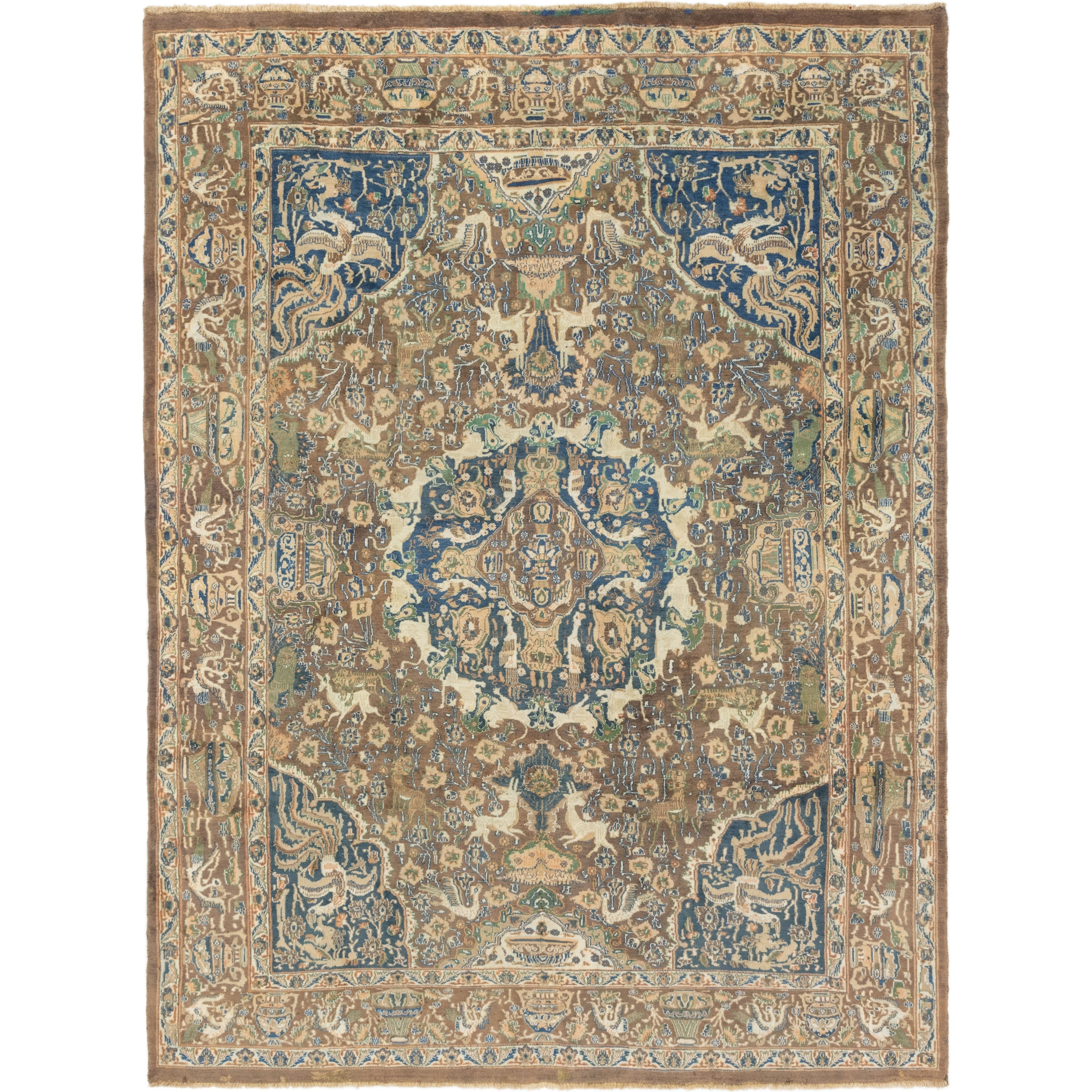 Hand Knotted Kashmar Semi Antique Wool Area Rug - 9 9 x 12 10 (Brown - 9 9 x 12 10)