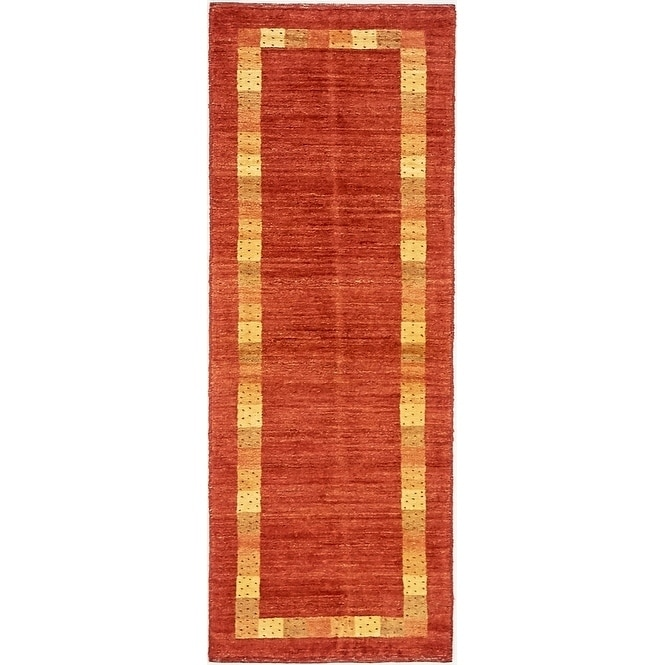 Hand Knotted Kashkuli Gabbeh Wool Runner Rug - 1 10 x 4 11 (Red - 1 10 x 4 11)