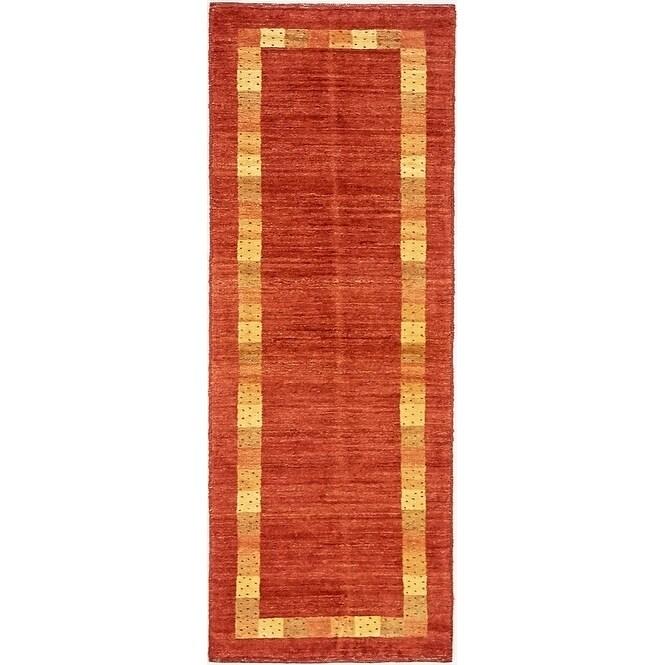 Hand Knotted Kashkuli Gabbeh Wool Runner Rug - 1 10 x 4 11 (Red - 1 10 x 4 11)