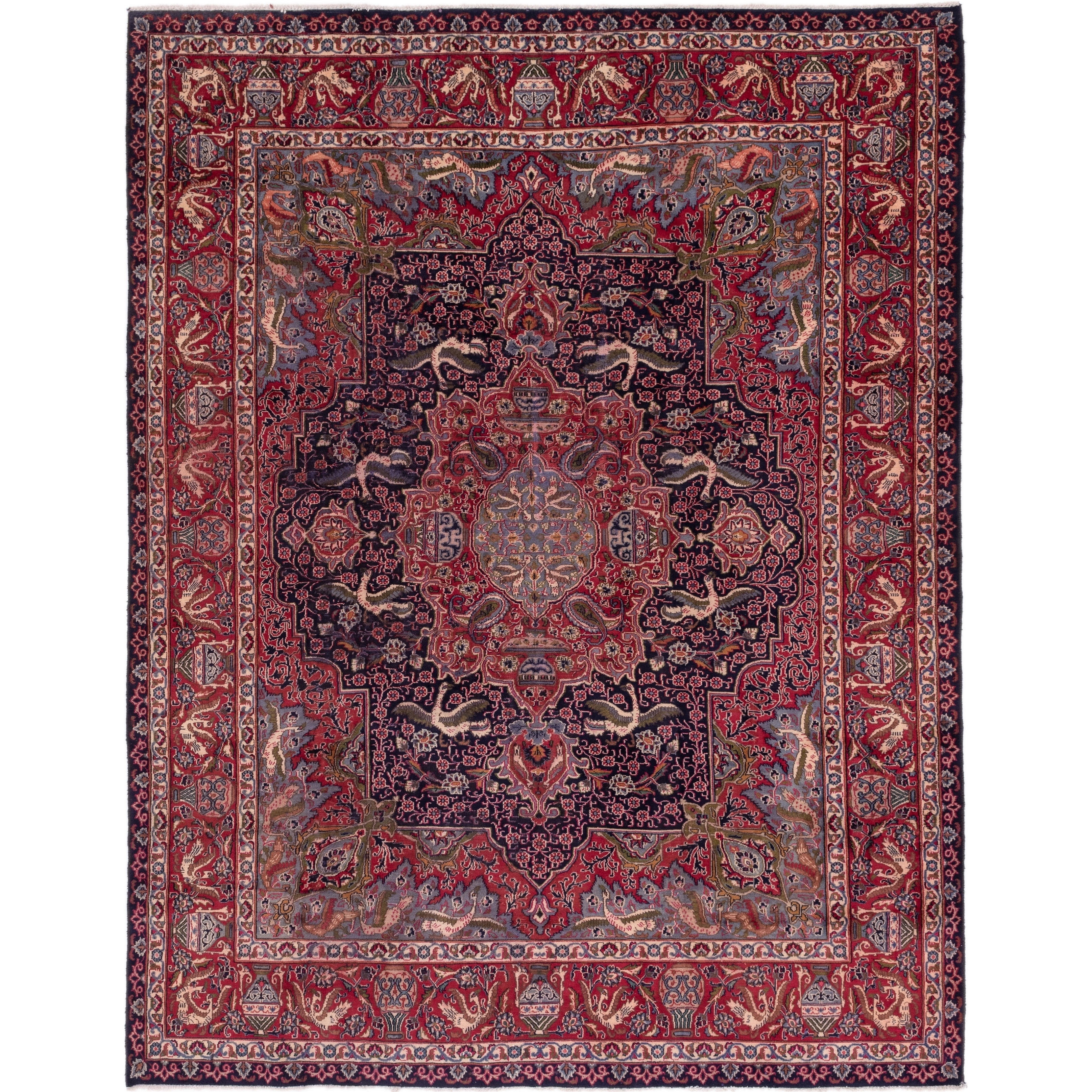 Hand Knotted Kashmar Semi Antique Wool Area Rug - 9 8 x 12 6 (Navy blue - 9 8 x 12 6)