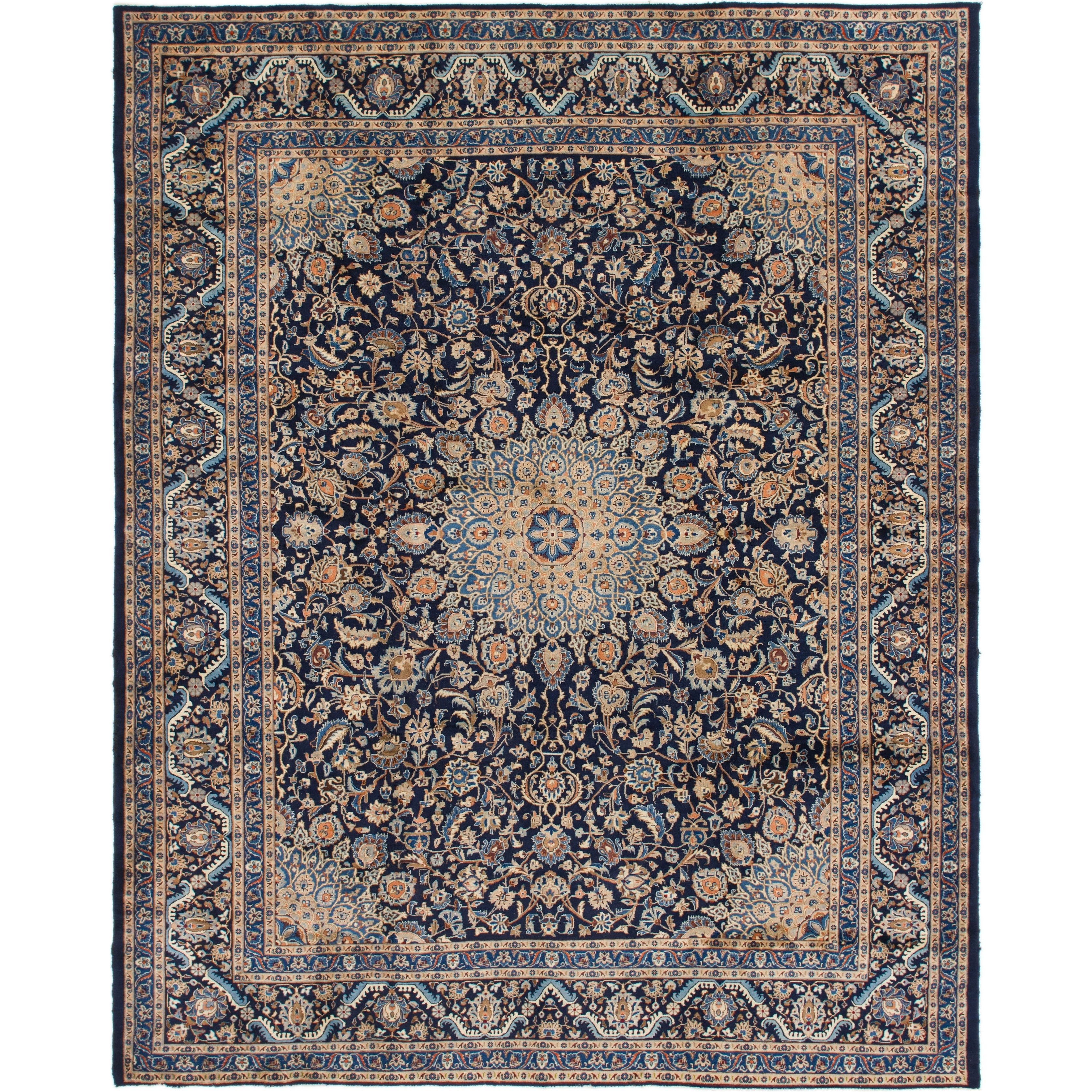 Hand Knotted Kashmar Semi Antique Wool Area Rug - 10 x 12 6 (Navy blue - 10 x 12 6)