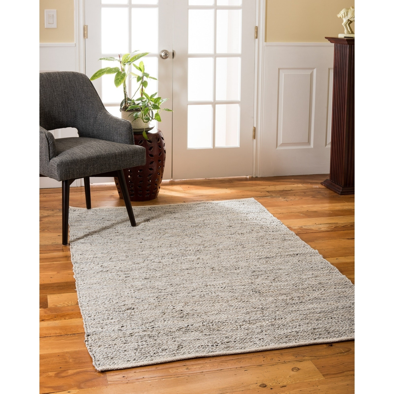 Natural Area Rugs Handmade Reversible Anchor Leather Rectangle Rug (9X12) Gray - 9 x 12 (9 x 12 - Grey)