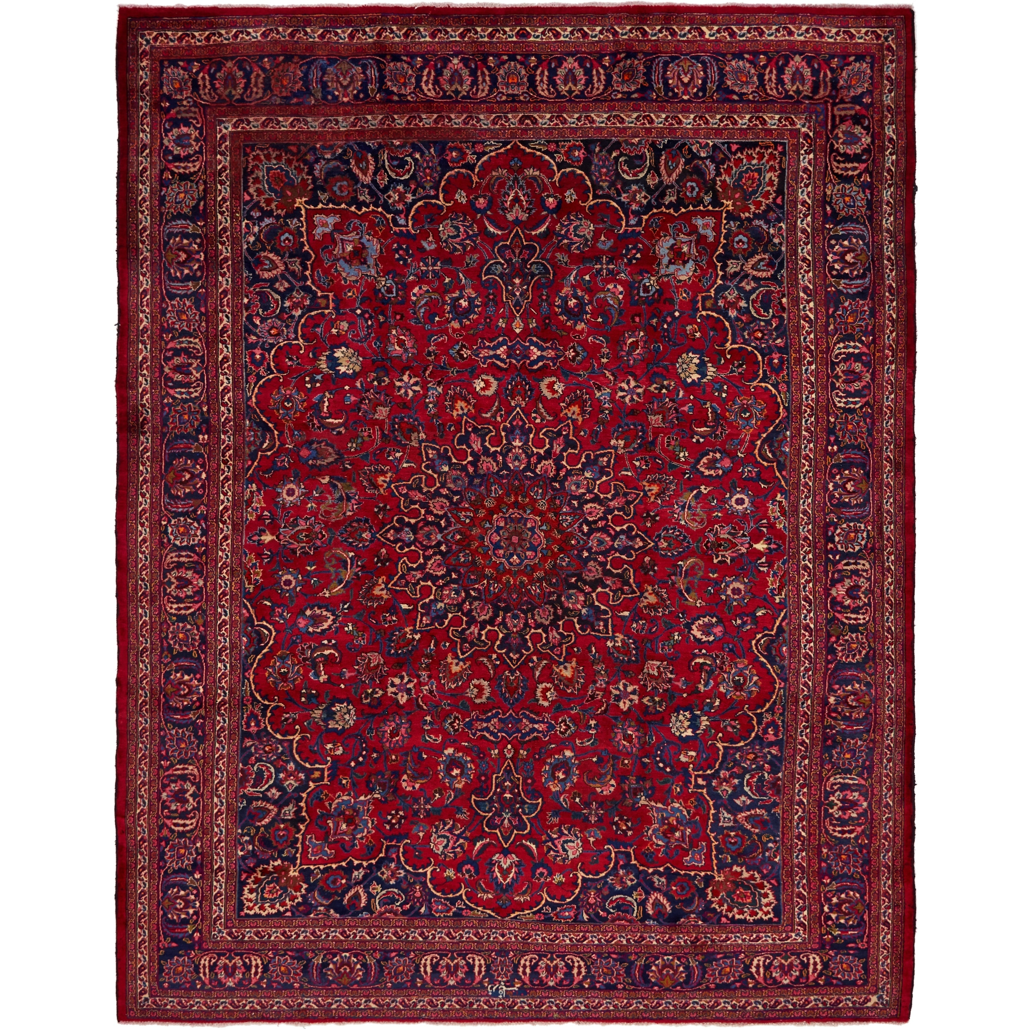 Hand Knotted Kashmar Semi Antique Wool Area Rug - 9 8 x 12 8 (Red - 9 8 x 12 8)