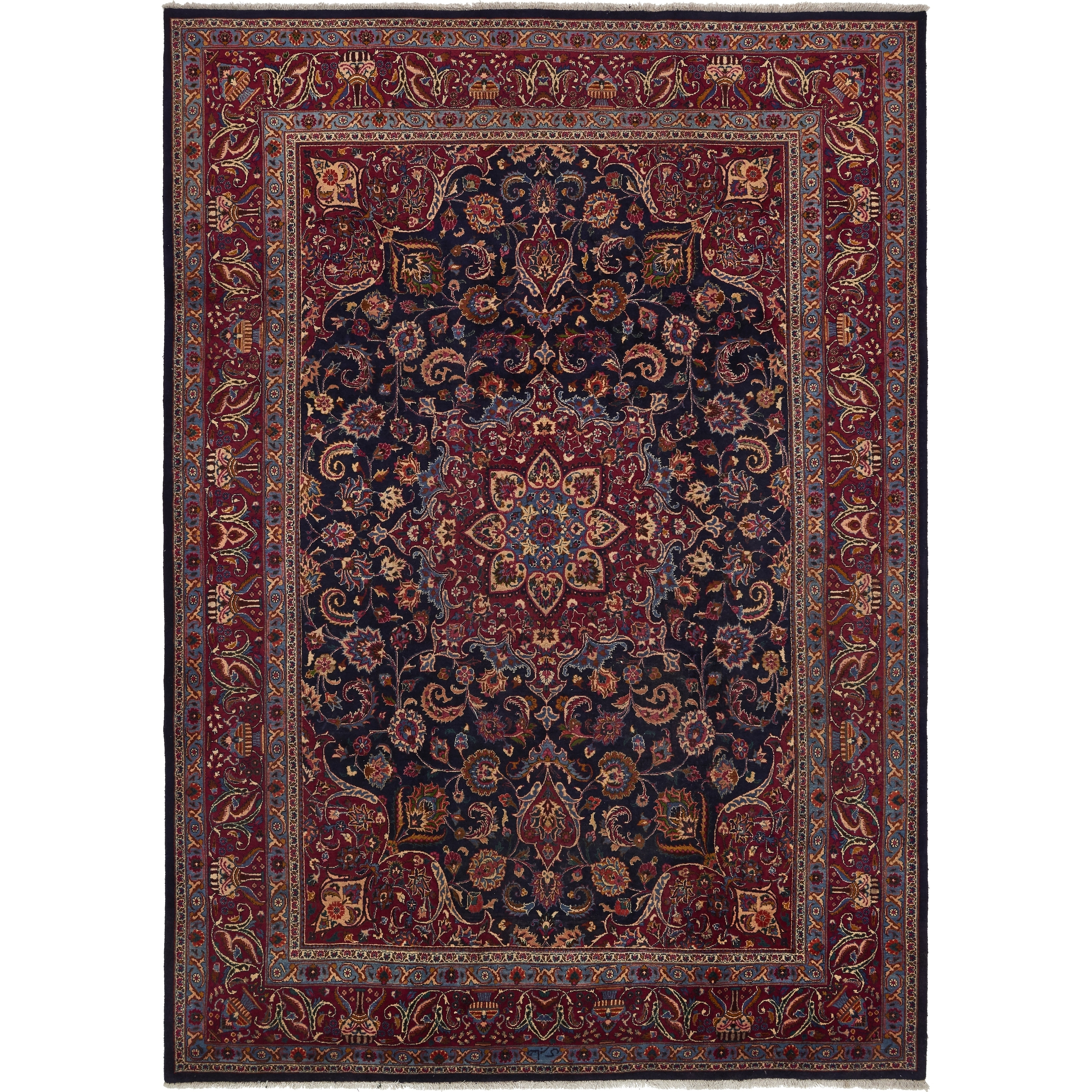 Hand Knotted Kashmar Semi Antique Wool Area Rug - 9 10 x 13 5 (Navy blue - 9 10 x 13 5)