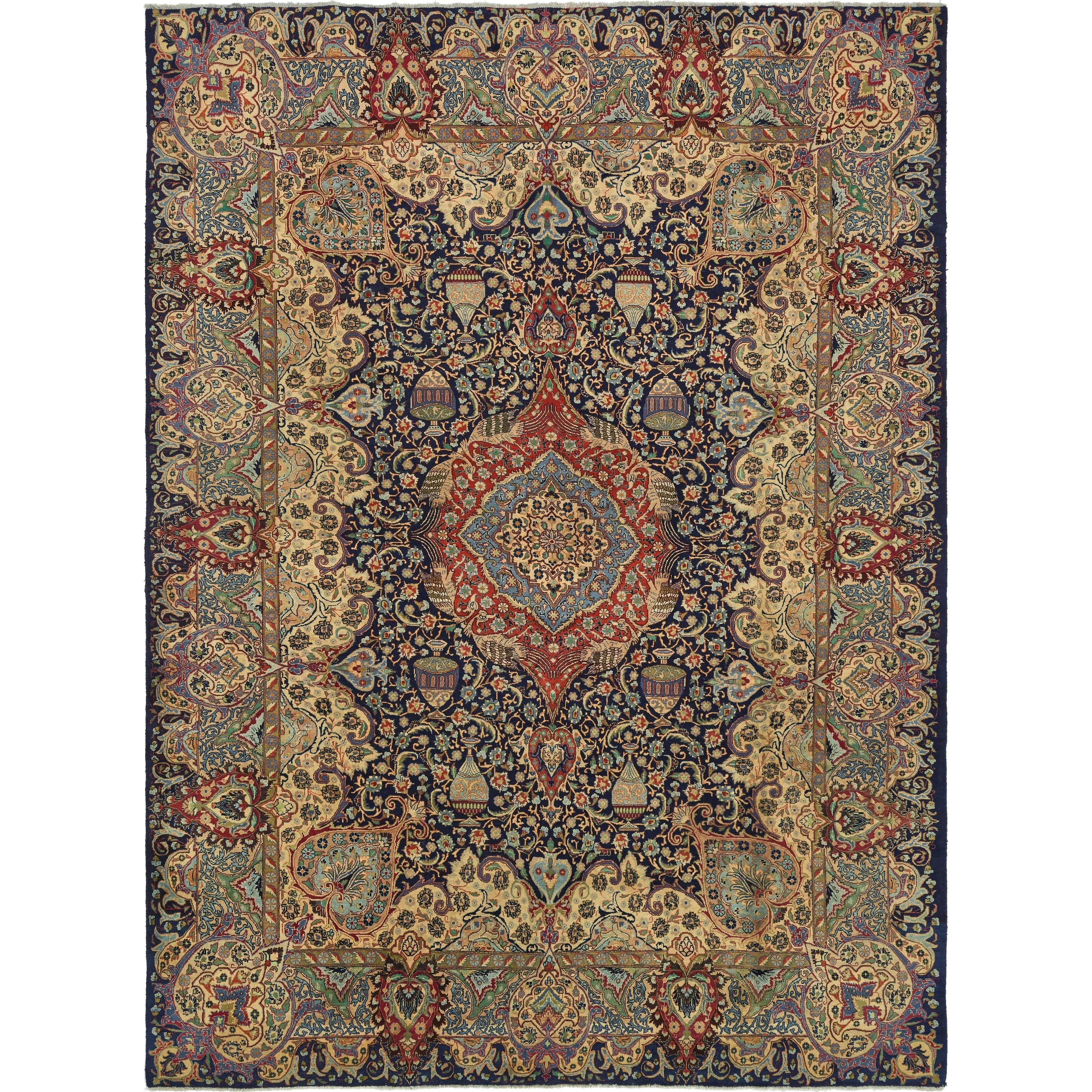 Hand Knotted Kashmar Semi Antique Wool Area Rug - 9 7 x 13 (Navy blue - 9 7 x 13)