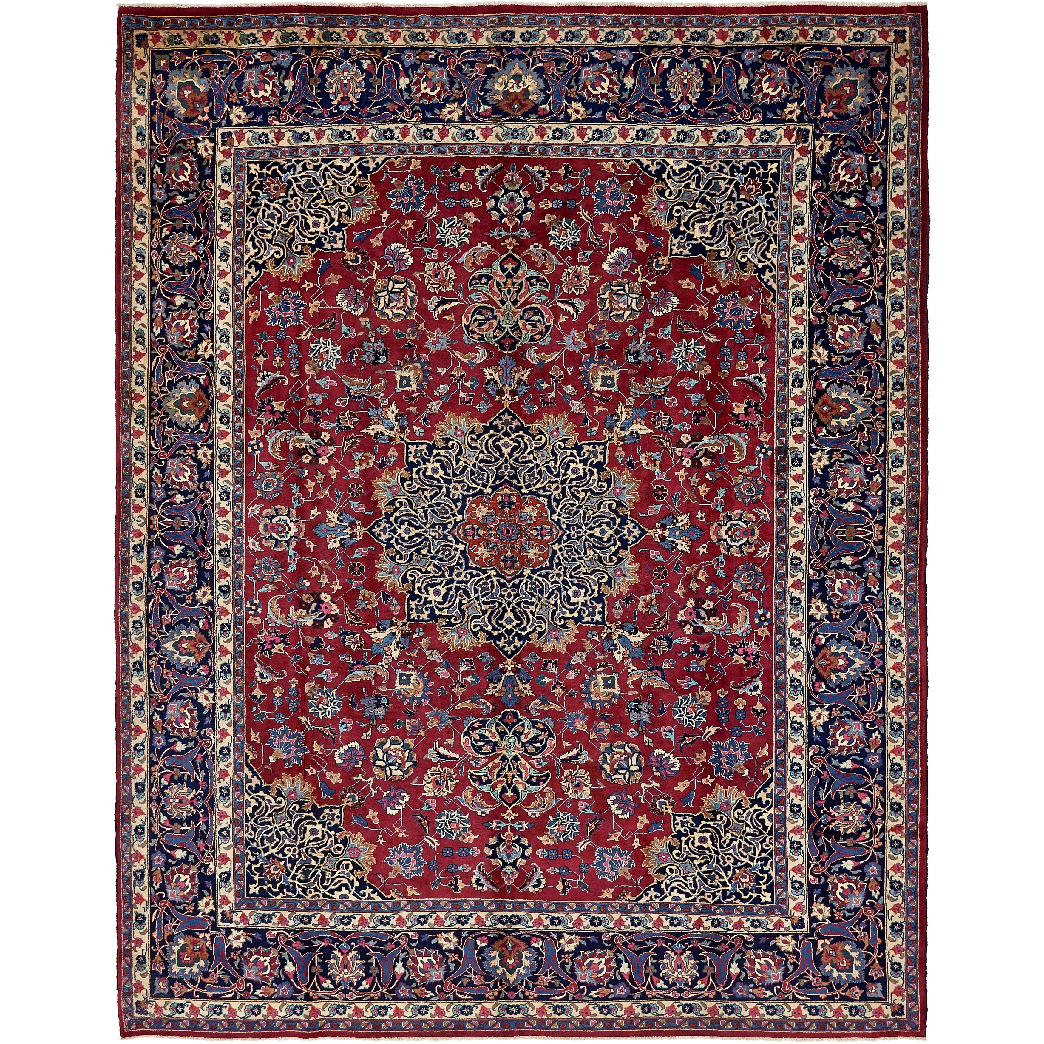 Hand Knotted Kashmar Semi Antique Wool Area Rug - 10 x 12 9 (Red - 10 x 12 9)