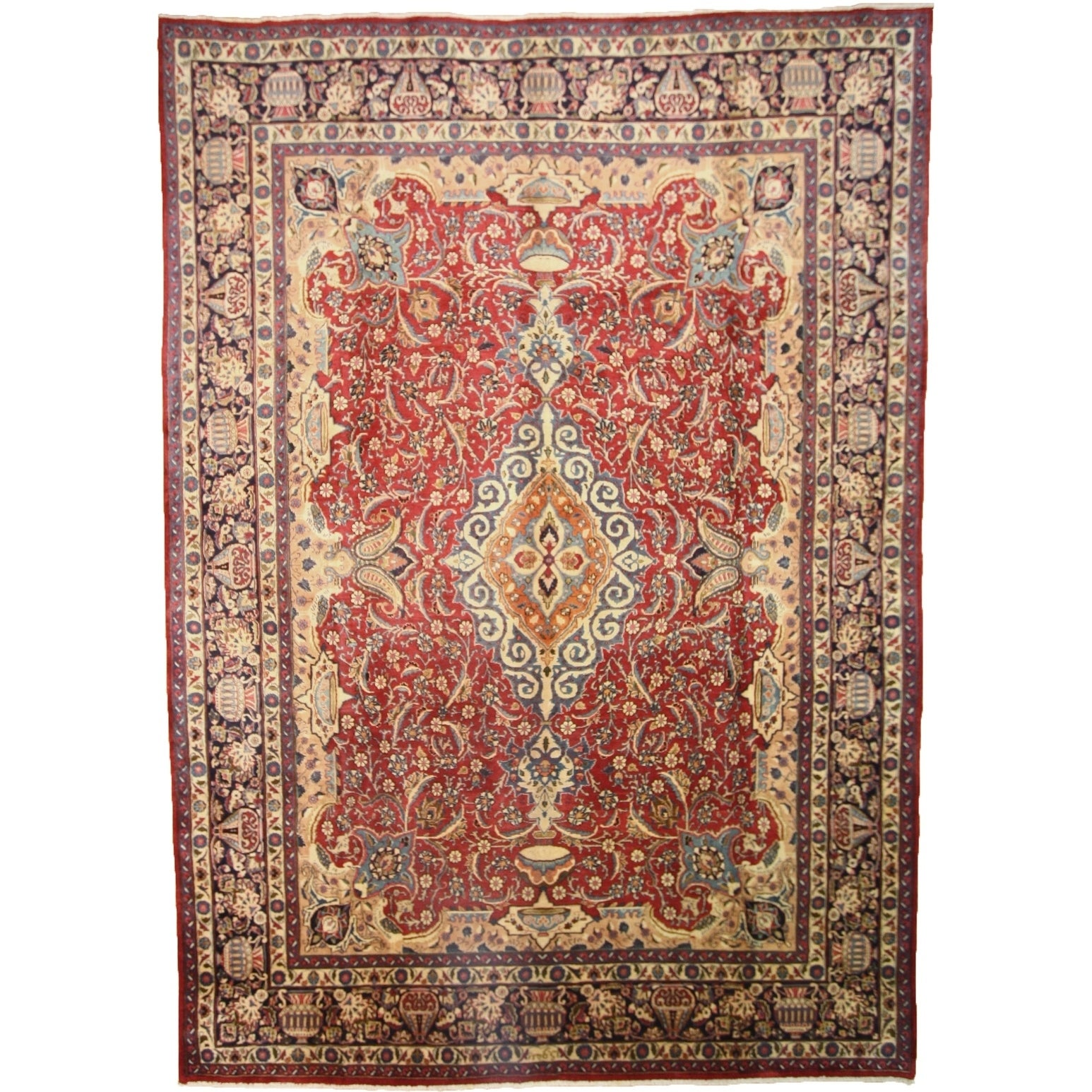 Hand Knotted Kashmar Semi Antique Wool Area Rug - 9 5 x 13 3 (Red - 9 5 x 13 3)