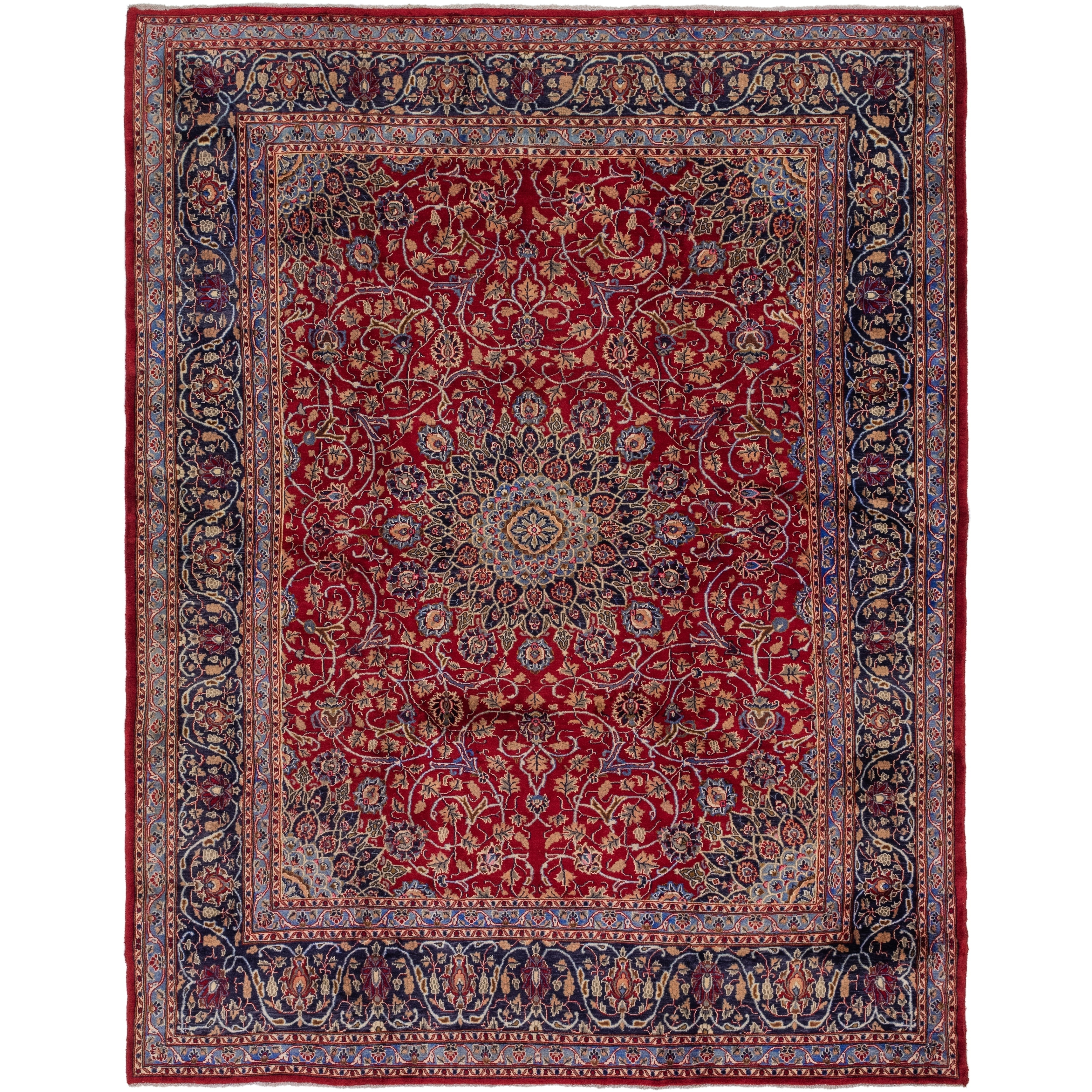 Hand Knotted Kashmar Semi Antique Wool Area Rug - 9 10 x 12 9 (Red - 9 10 x 12 9)