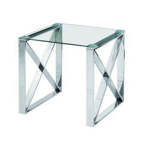 Best Quality Furniture Stainless Steel Glass Top End Table