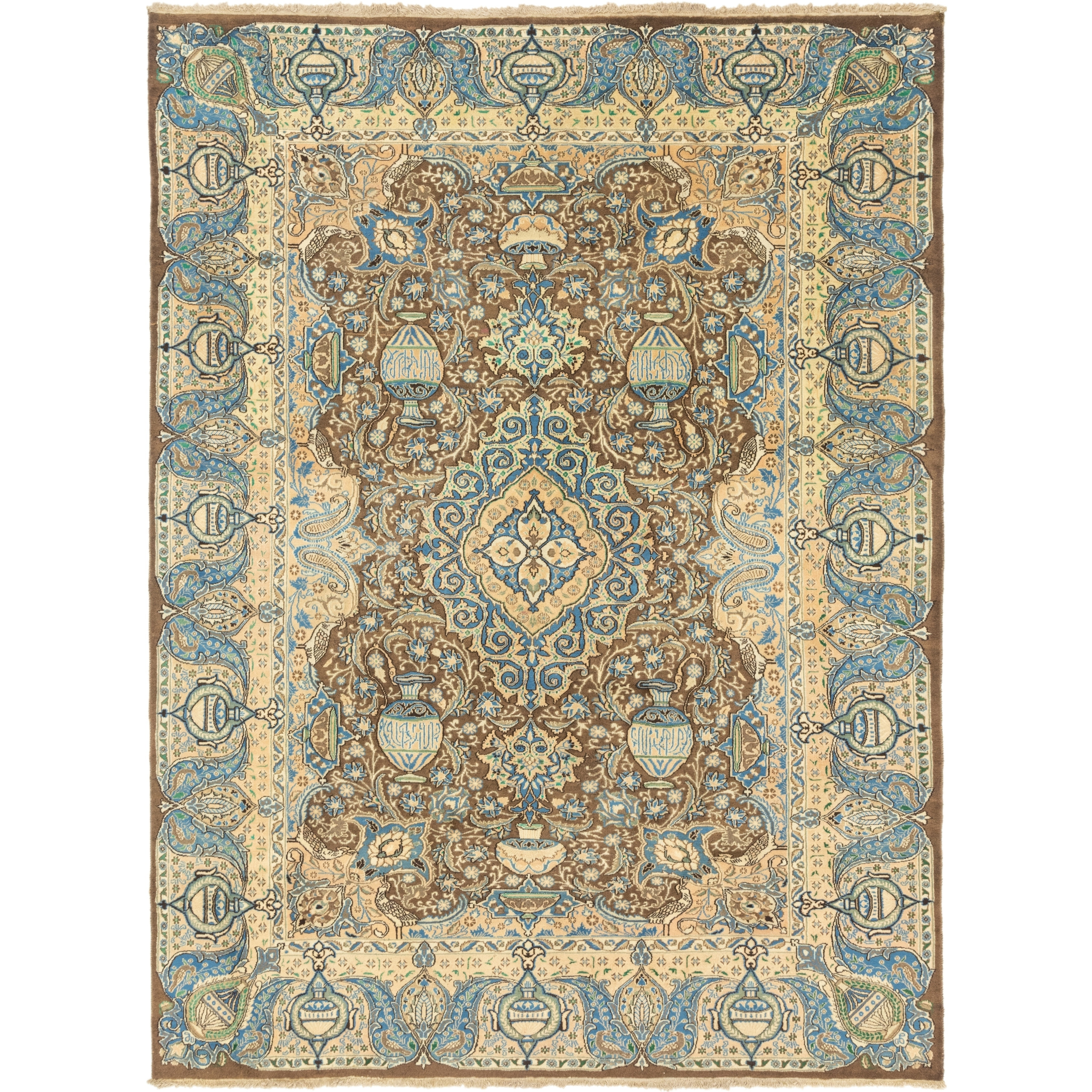 Hand Knotted Kashmar Semi Antique Wool Area Rug - 9 8 x 12 7 (Brown - 9 8 x 12 7)
