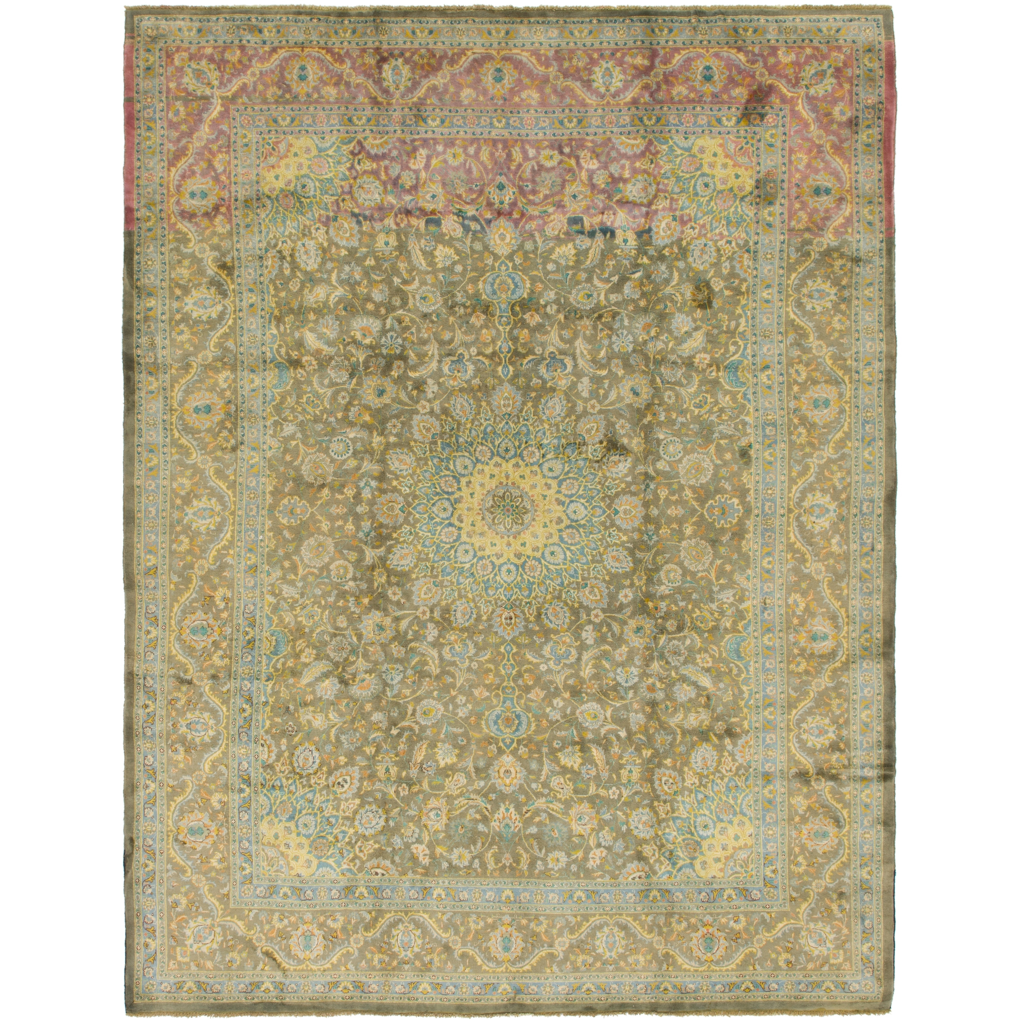 Hand Knotted Kashmar Semi Antique Wool Area Rug - 9 9 x 12 10 (Olive - 9 9 x 12 10)
