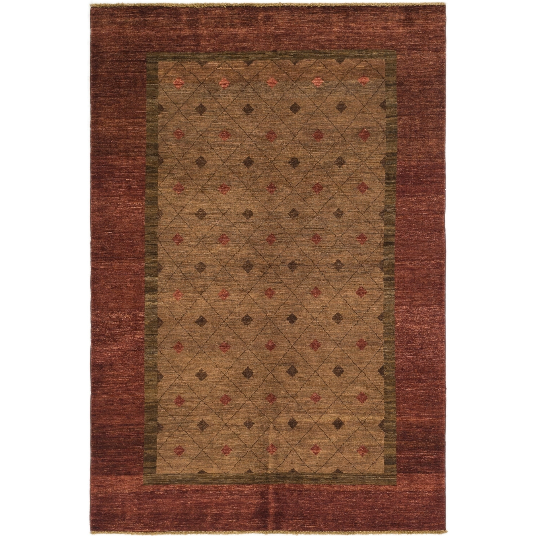Hand Knotted Kashkuli Gabbeh Wool Area Rug - 5 6 x 8 2 (Brown - 5 6 x 8 2)