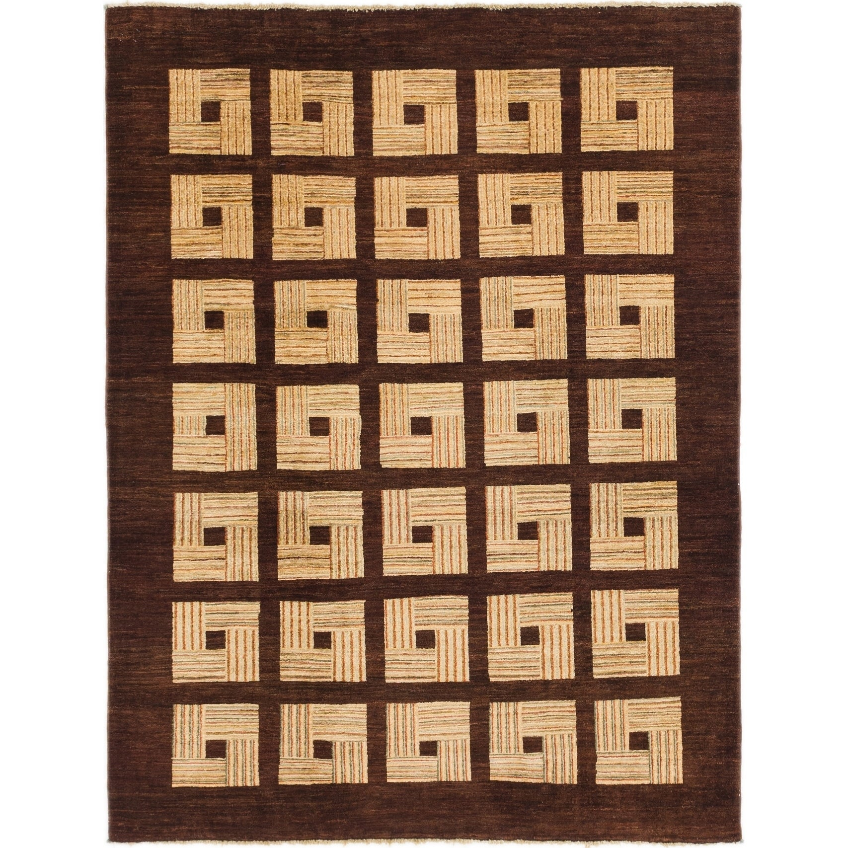 Hand Knotted Kashkuli Gabbeh Wool Area Rug - 5 x 6 8 (Burgundy - 5 x 6 8)