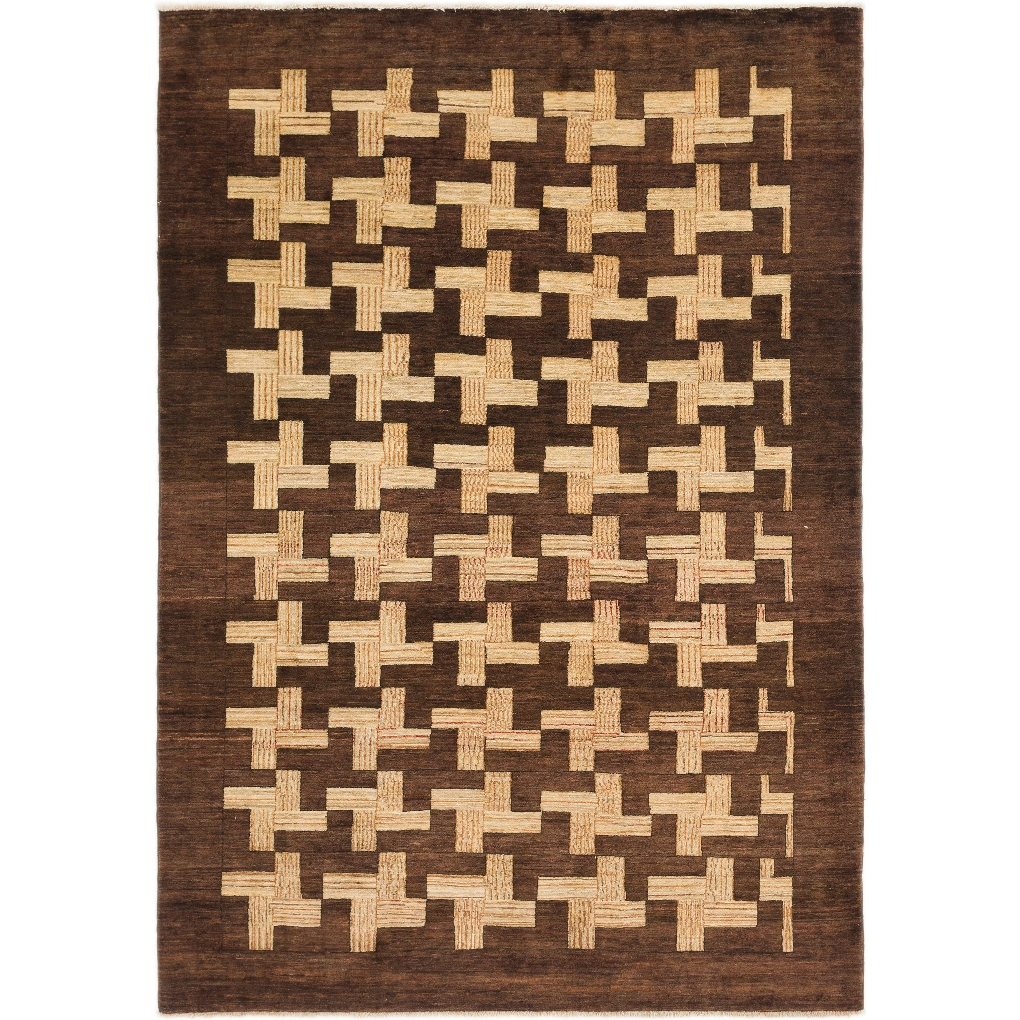 Hand Knotted Kashkuli Gabbeh Wool Area Rug - 6 2 x 8 8 (Brown - 6 2 x 8 8)