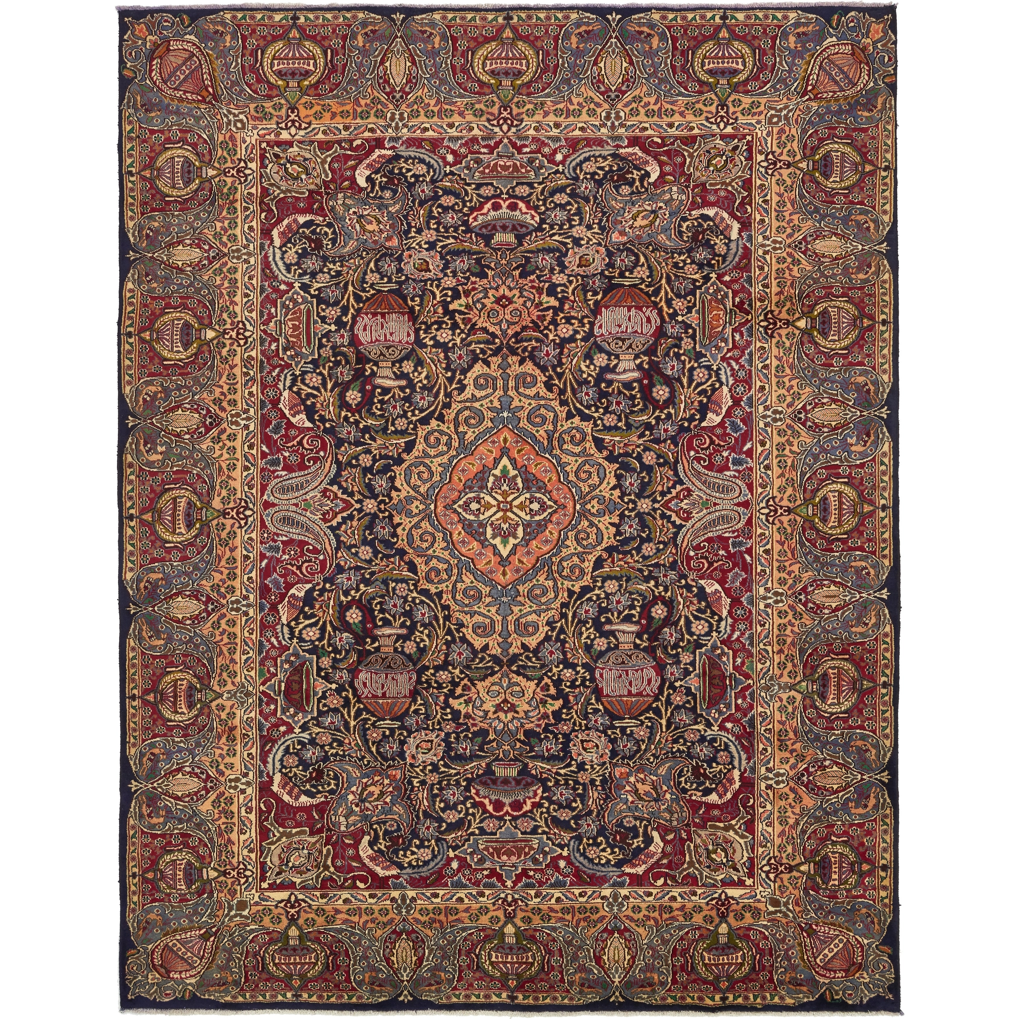 Hand Knotted Kashmar Semi Antique Wool Area Rug - 9 7 x 12 4 (Navy blue - 9 7 x 12 4)