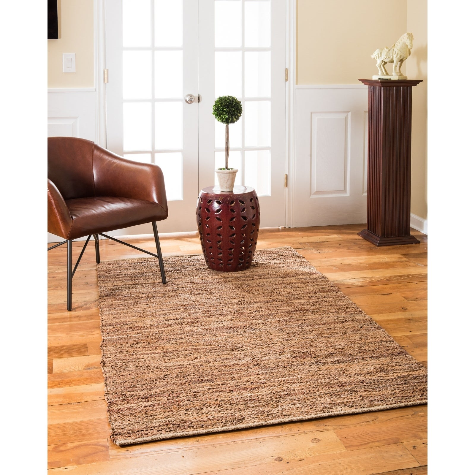 NaturalAreaRugs Adore Leather Rug Hand-Loomed, 9 x 12 - 9 x 12 (9 x 12 - Brown)