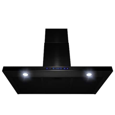 "AKDY 36"" Wall Mount Brushed Black Stainless Steel Touch Panel Kitchen Range Hood Fan"