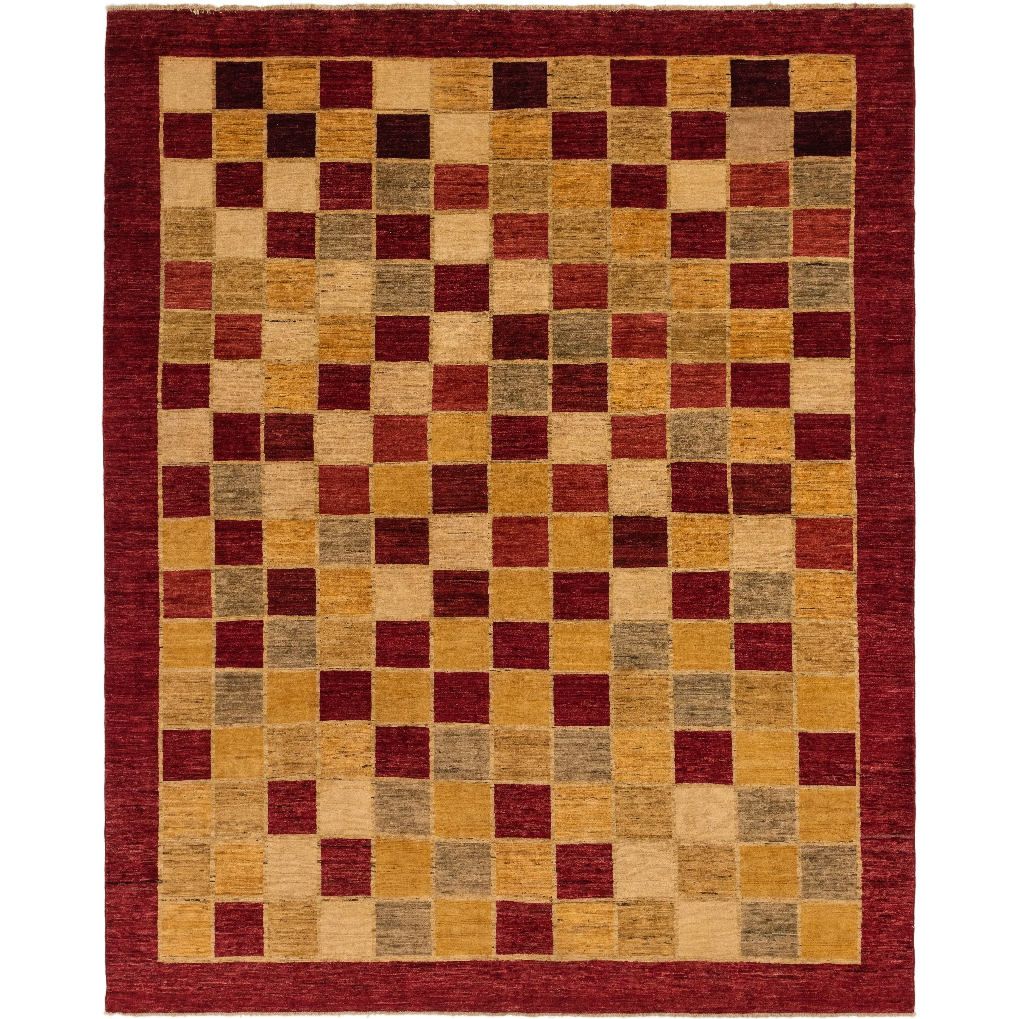 Hand Knotted Kashkuli Gabbeh Wool Area Rug - 10 5 x 12 9 (Red - 10 5 x 12 9)
