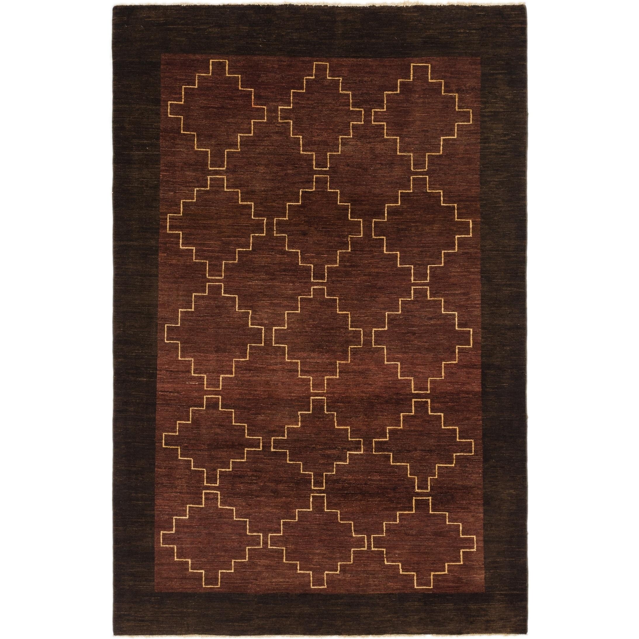 Hand Knotted Kashkuli Gabbeh Wool Area Rug - 6 5 x 9 10 (Burgundy - 6 5 x 9 10)