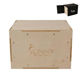 Sunny Health & Fitness 3 in 1 Height Adjustable Wood Plyo Box with Removable Foam Cover, 500lb Weight Capacity