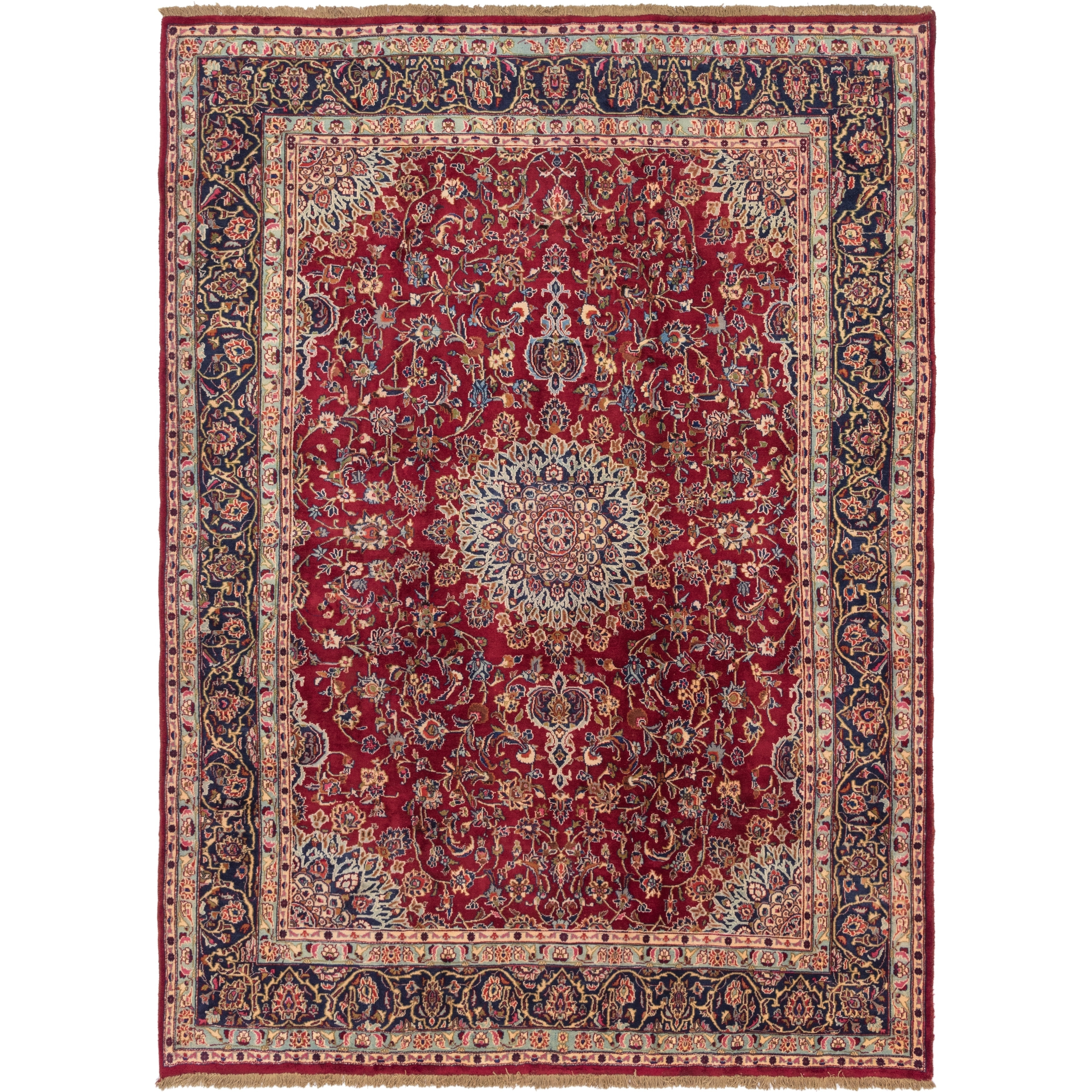 Hand Knotted Kashmar Wool Area Rug - 9 7 x 12 9 (Red - 9 7 x 12 9)