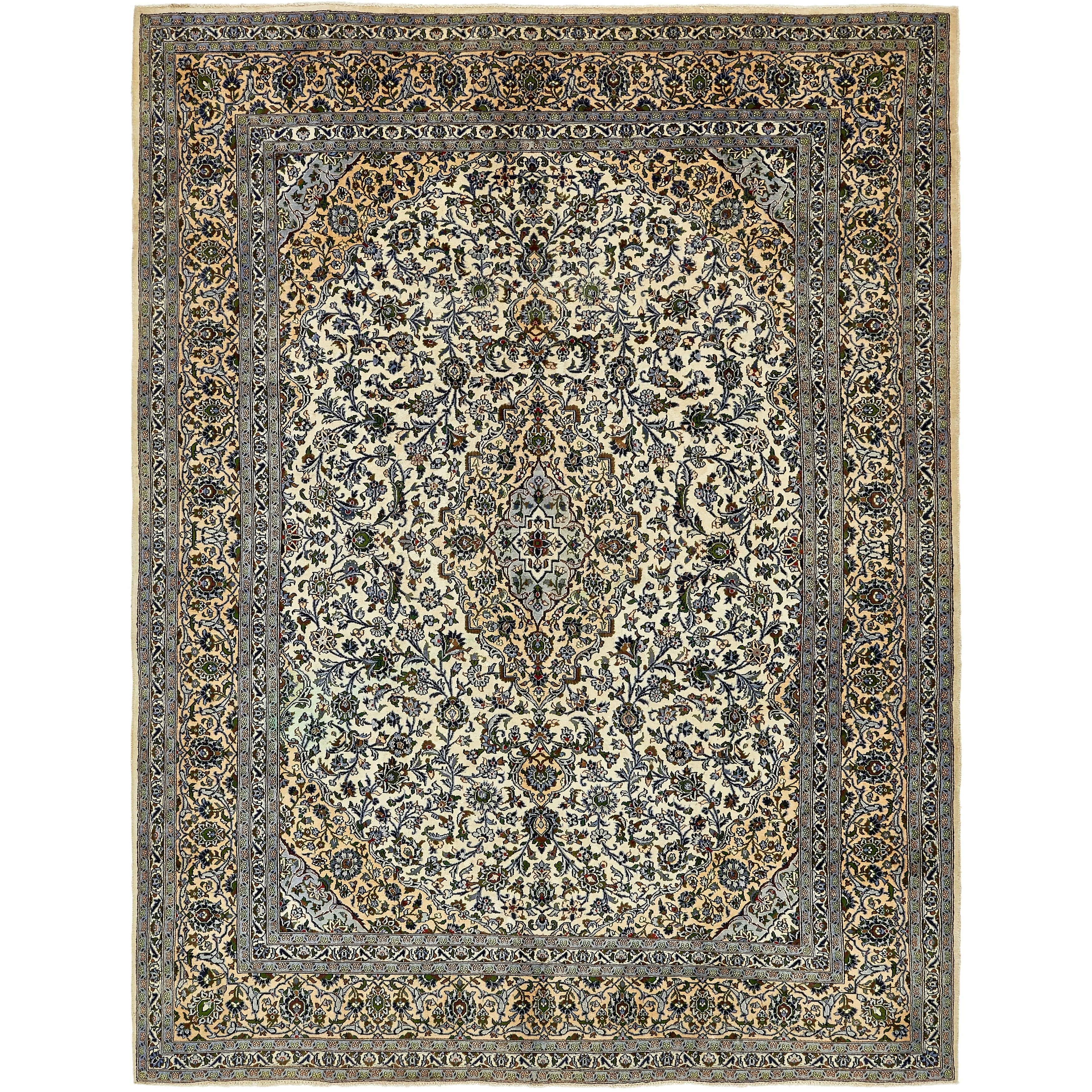 Hand Knotted Kashmar Semi Antique Wool Area Rug - 9 8 x 13 (Ivory - 9 8 x 13)