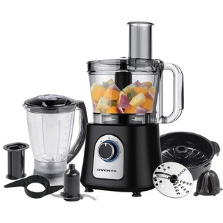 Ovente PF7007B 12Cup Food Processor w/ Blender,Chopper & Citrus Juicer