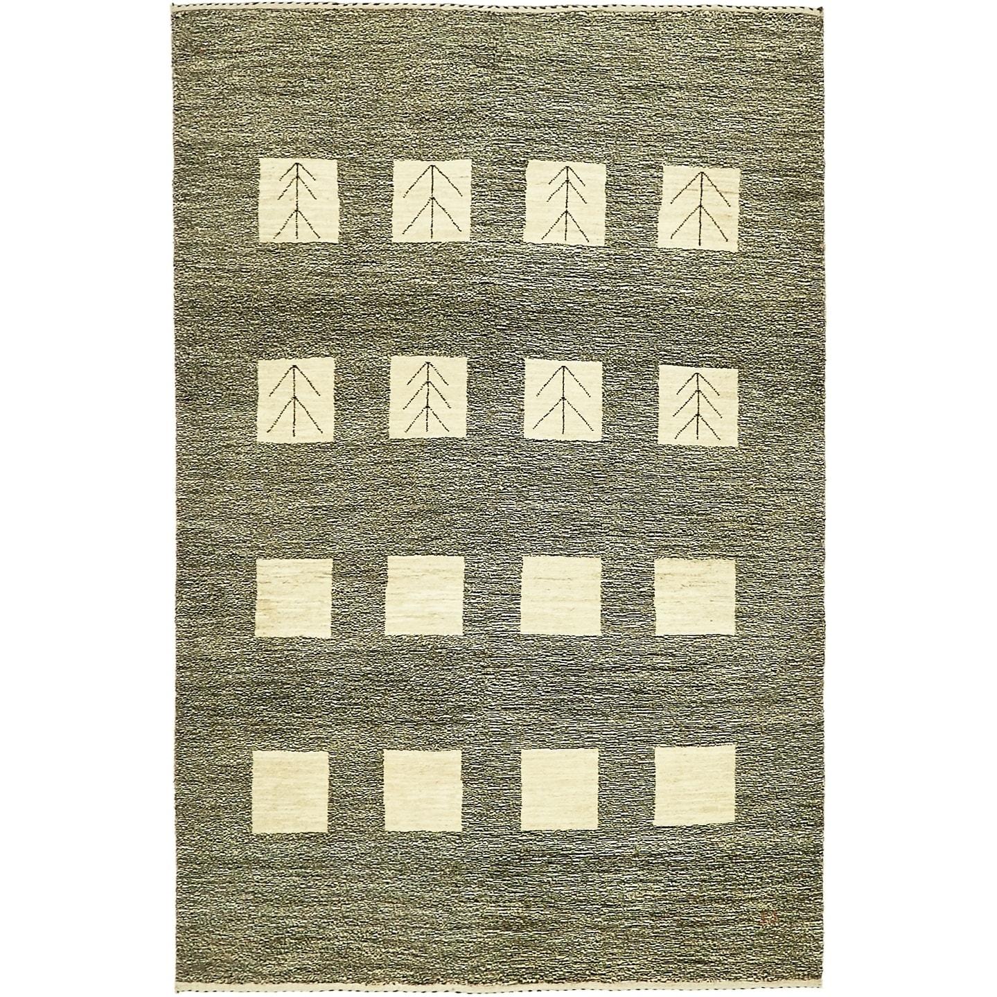 Hand Knotted Kashkuli Gabbeh Wool Area Rug - 4 x 6 (Brown - 4 x 6)