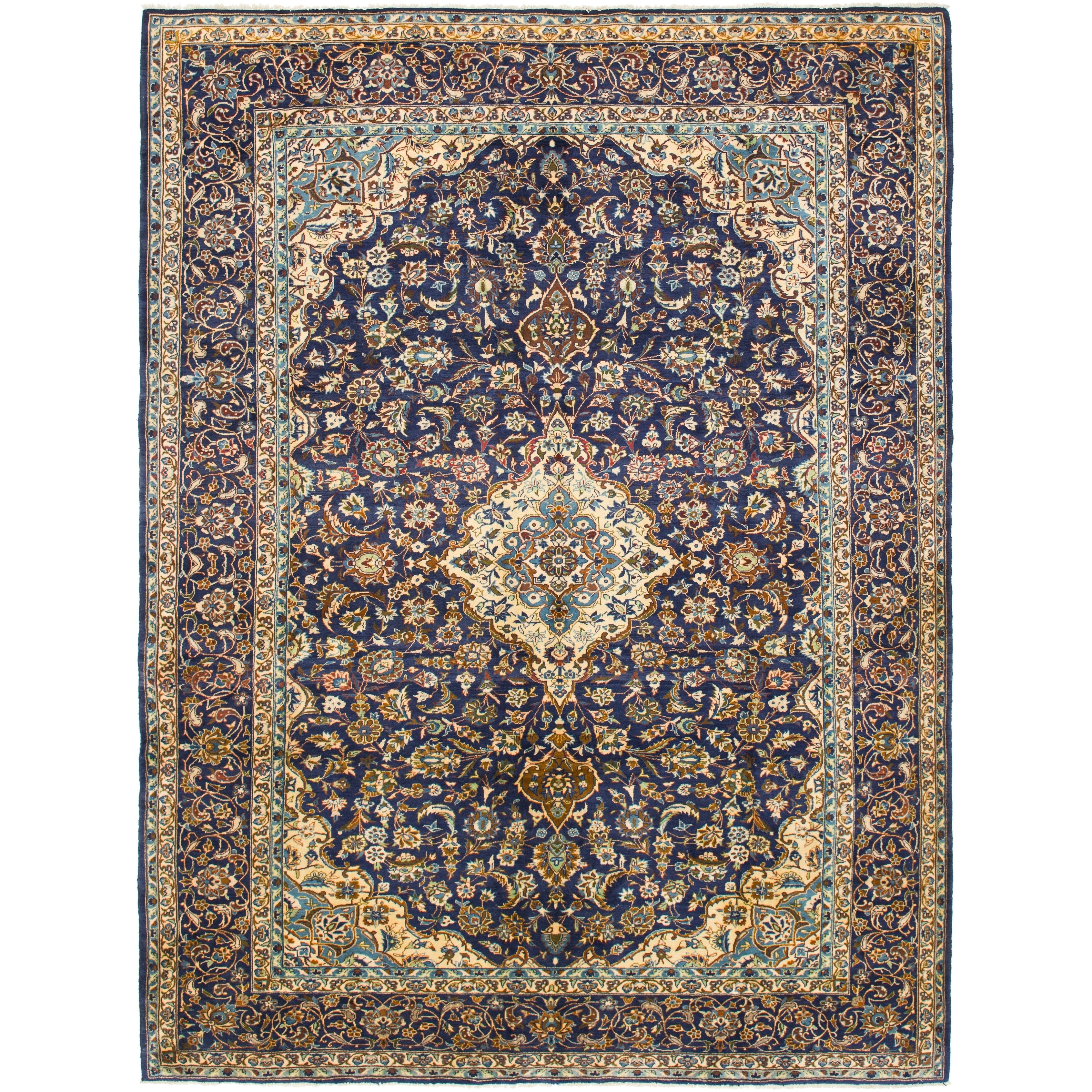 Hand Knotted Kashmar Semi Antique Wool Area Rug - 9 9 x 13 (Navy blue - 9 9 x 13)