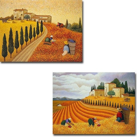 Village Landscape and Village Harvest by Lowell Herrero 2-piece Gallery Wrapped Canvas Giclee Art Set (Ready to Hang)