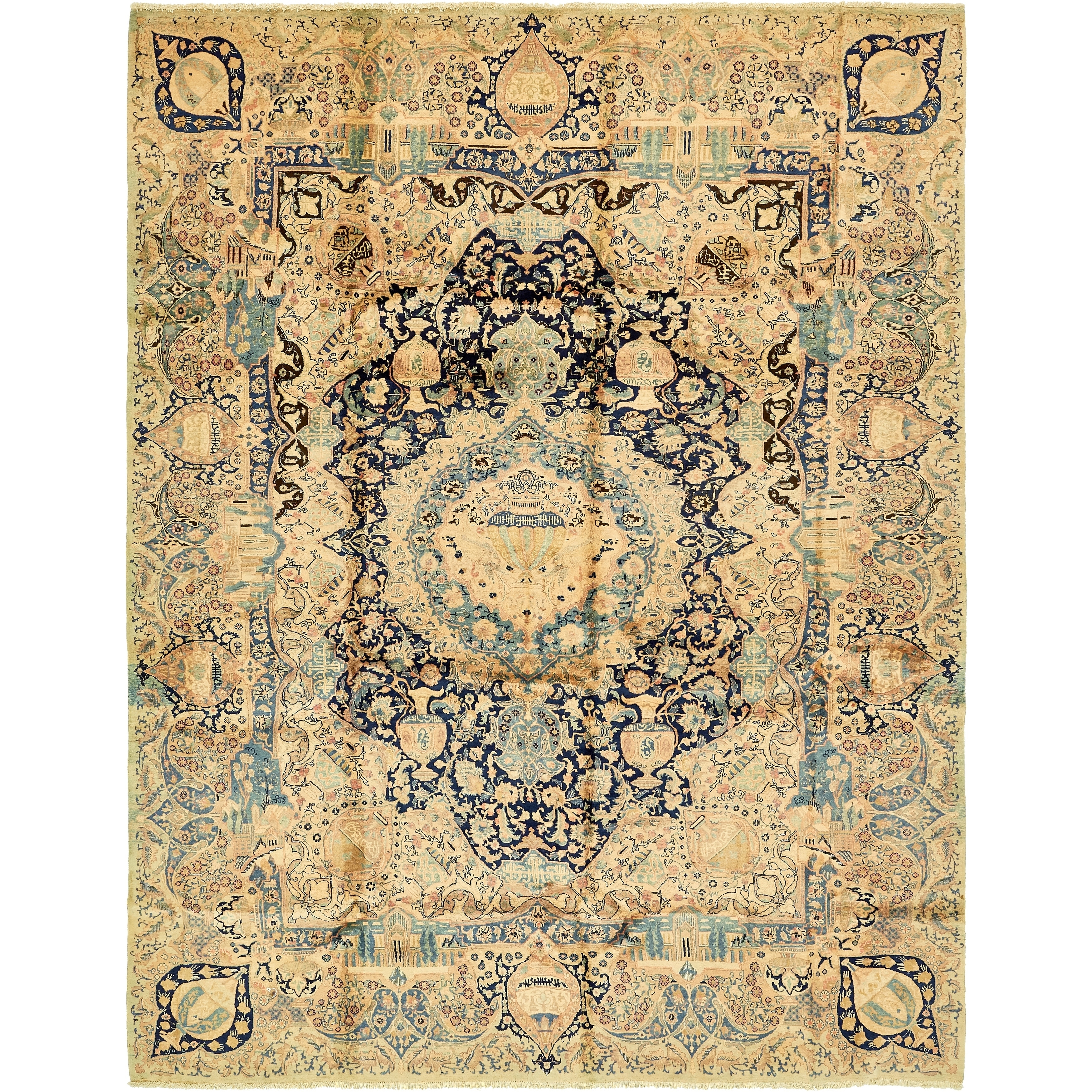 Hand Knotted Kashmar Semi Antique Wool Area Rug - 9 10 x 13 (Navy blue - 9 10 x 13)