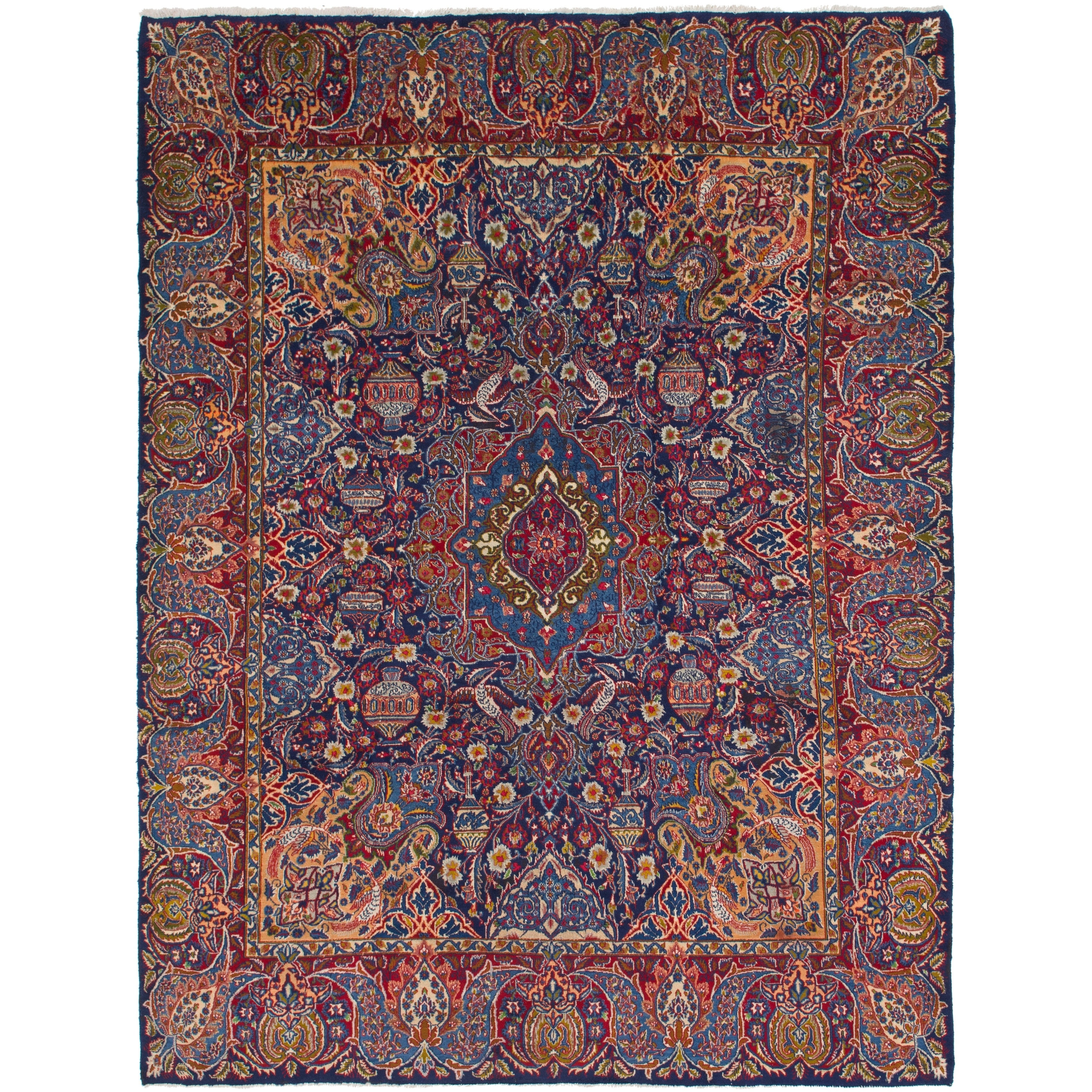 Hand Knotted Kashmar Semi Antique Wool Area Rug - 10 x 13 (Navy blue - 10 x 13)