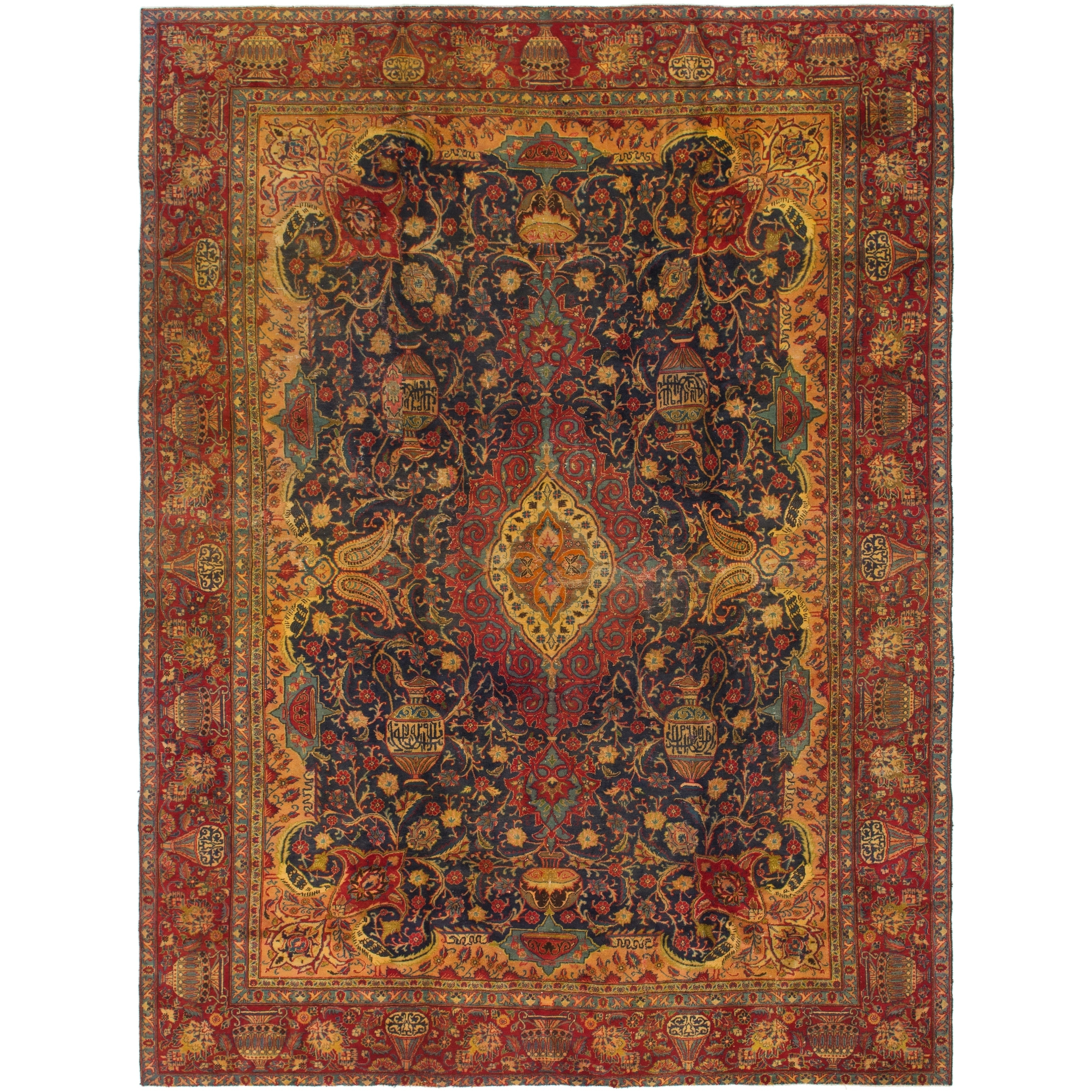 Hand Knotted Kashmar Antique Wool Area Rug - 9 2 x 12 6 (Navy blue - 9 2 x 12 6)