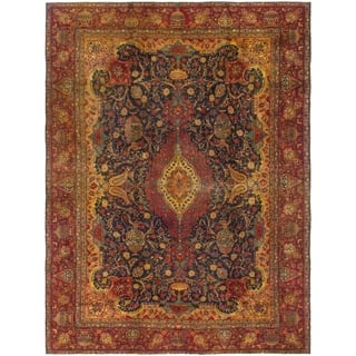 Hand Knotted Kashmar Antique Wool Area Rug - 9' 2 x 12' 6