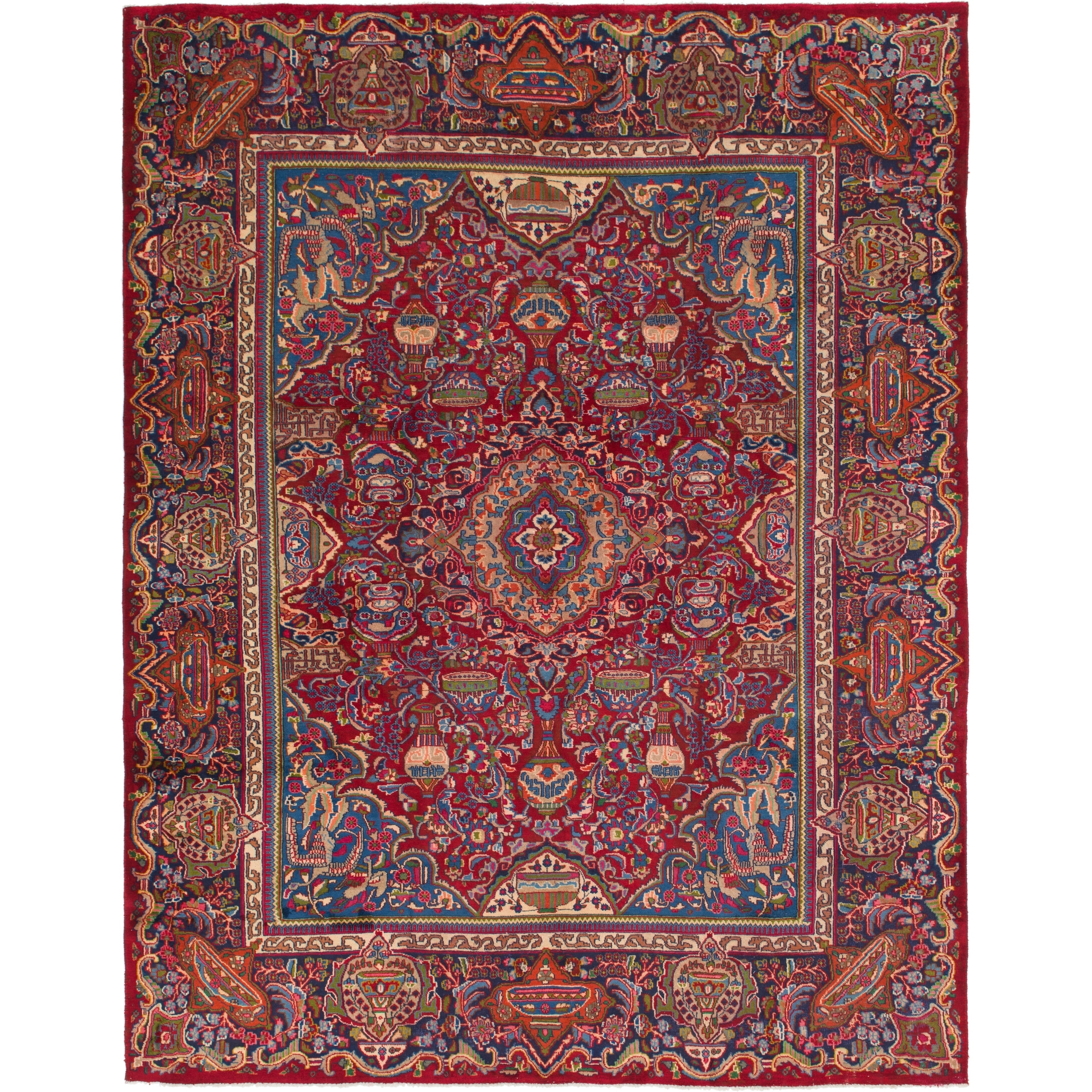 Hand Knotted Kashmar Semi Antique Wool Area Rug - 9 9 x 12 8 (Red - 9 9 x 12 8)