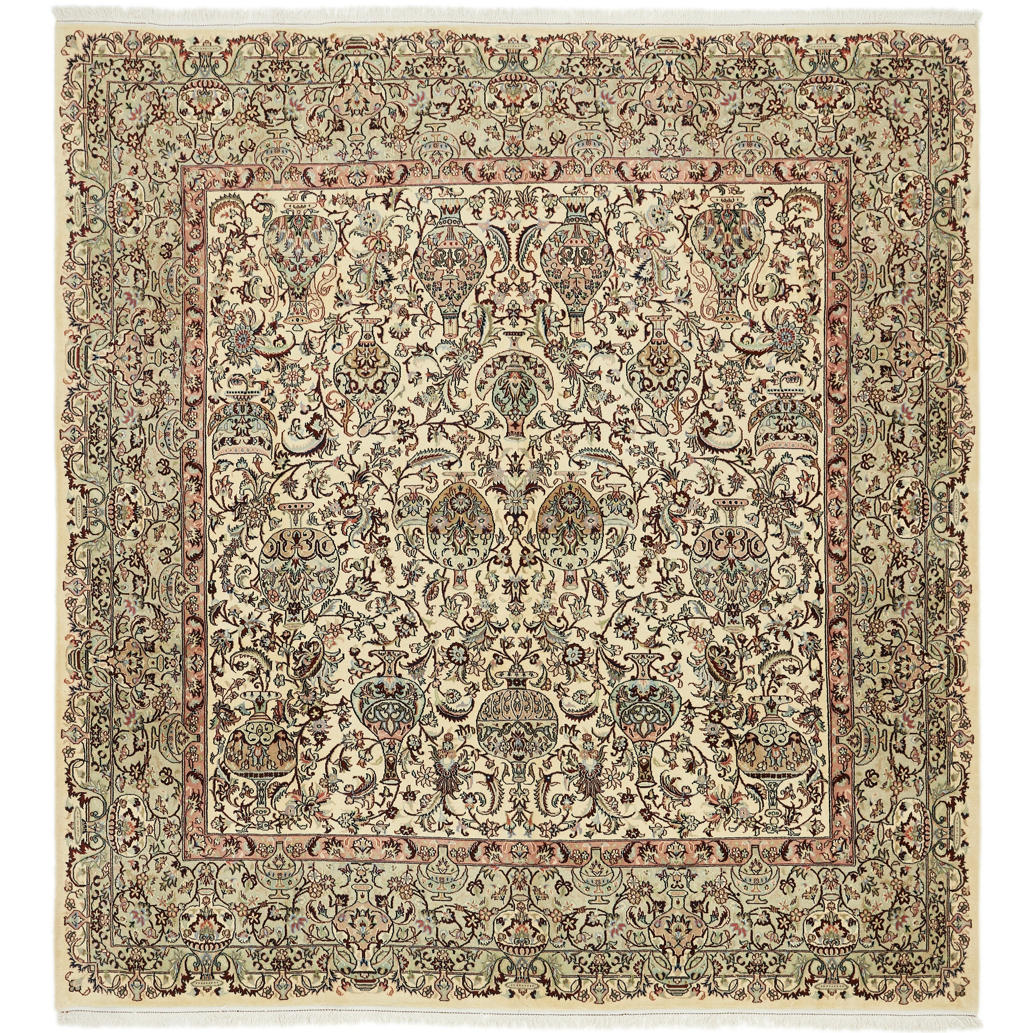 Hand Knotted Kashmar Wool Area Rug - 9 5 x 10 2 (Ivory - 9 5 x 10 2)