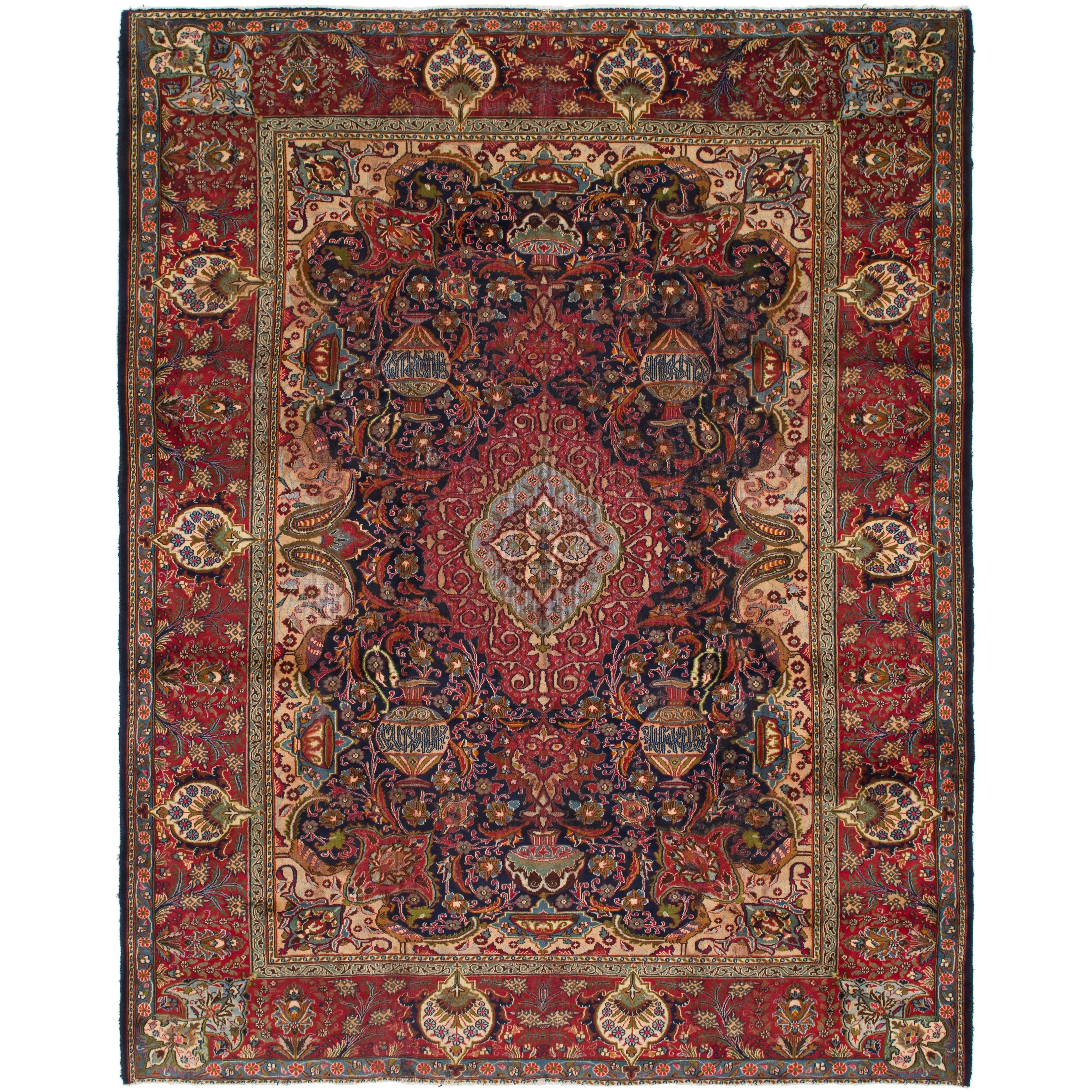 Hand Knotted Kashmar Antique Wool Area Rug - 9 10 x 12 5 (Navy blue - 9 10 x 12 5)