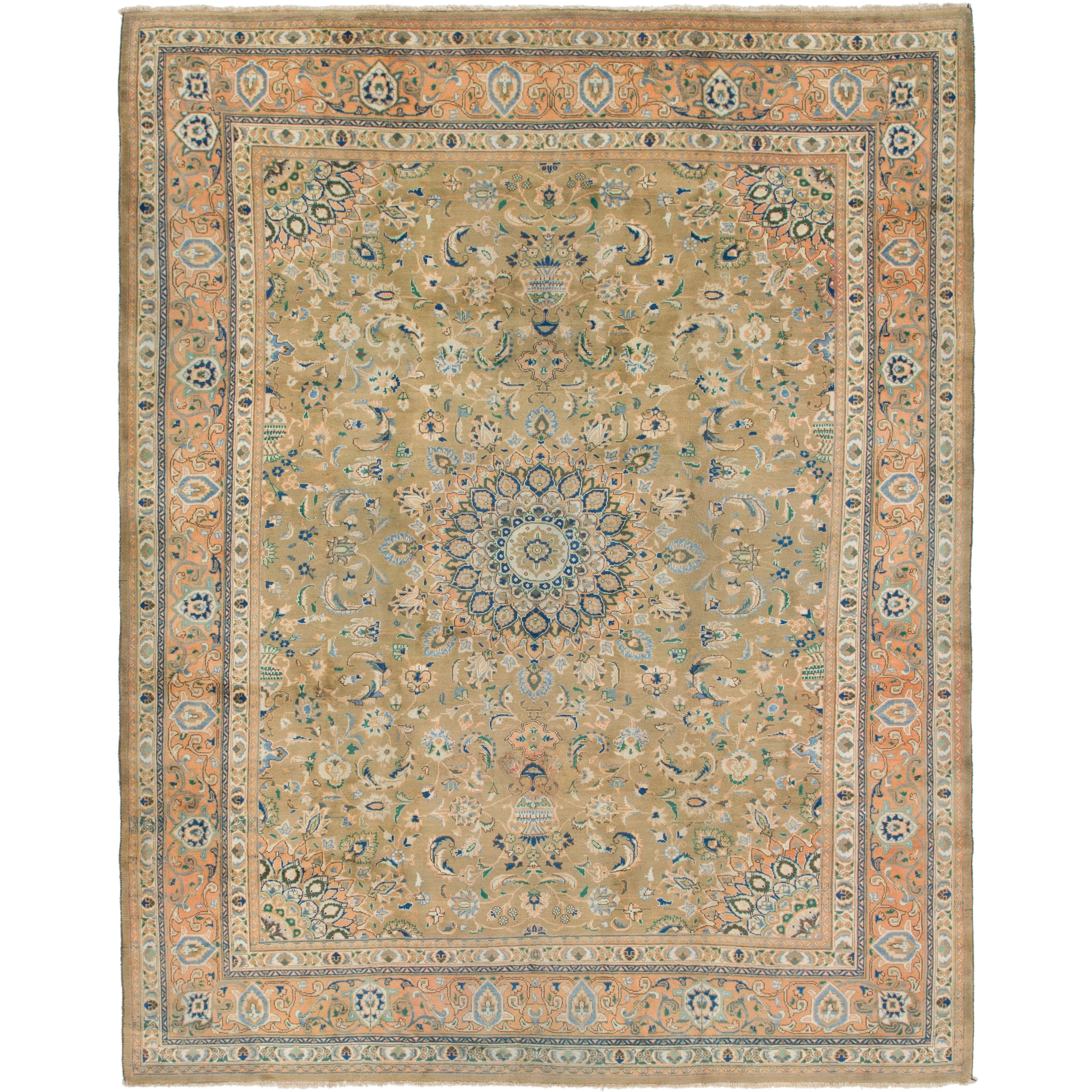 Hand Knotted Kashmar Semi Antique Wool Area Rug - 9 7 x 12 5 (Olive - 9 7 x 12 5)