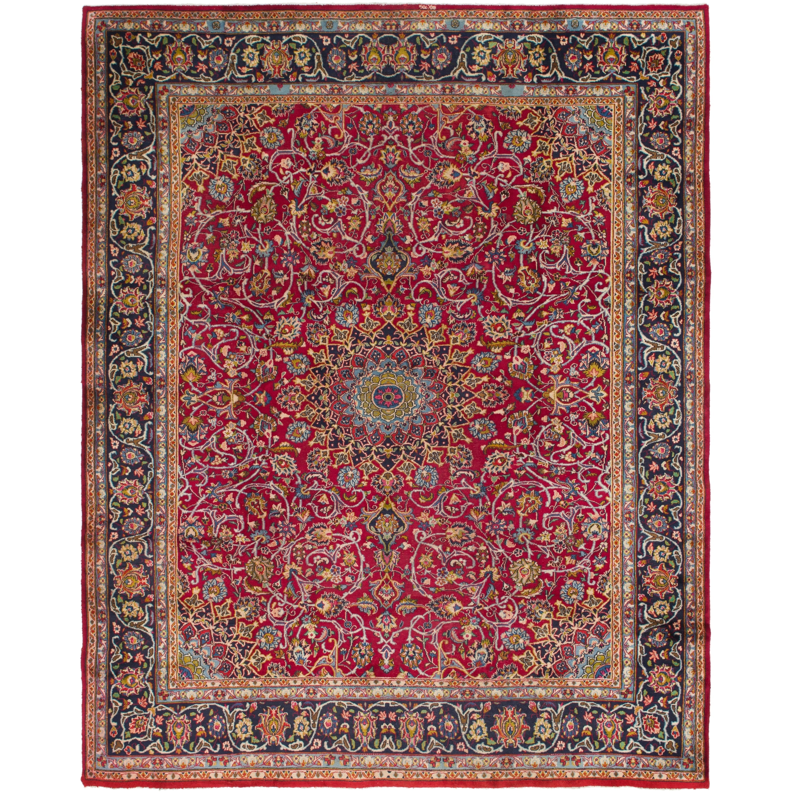 Hand Knotted Kashmar Semi Antique Wool Area Rug - 9 7 x 12 2 (Red - 9 7 x 12 2)