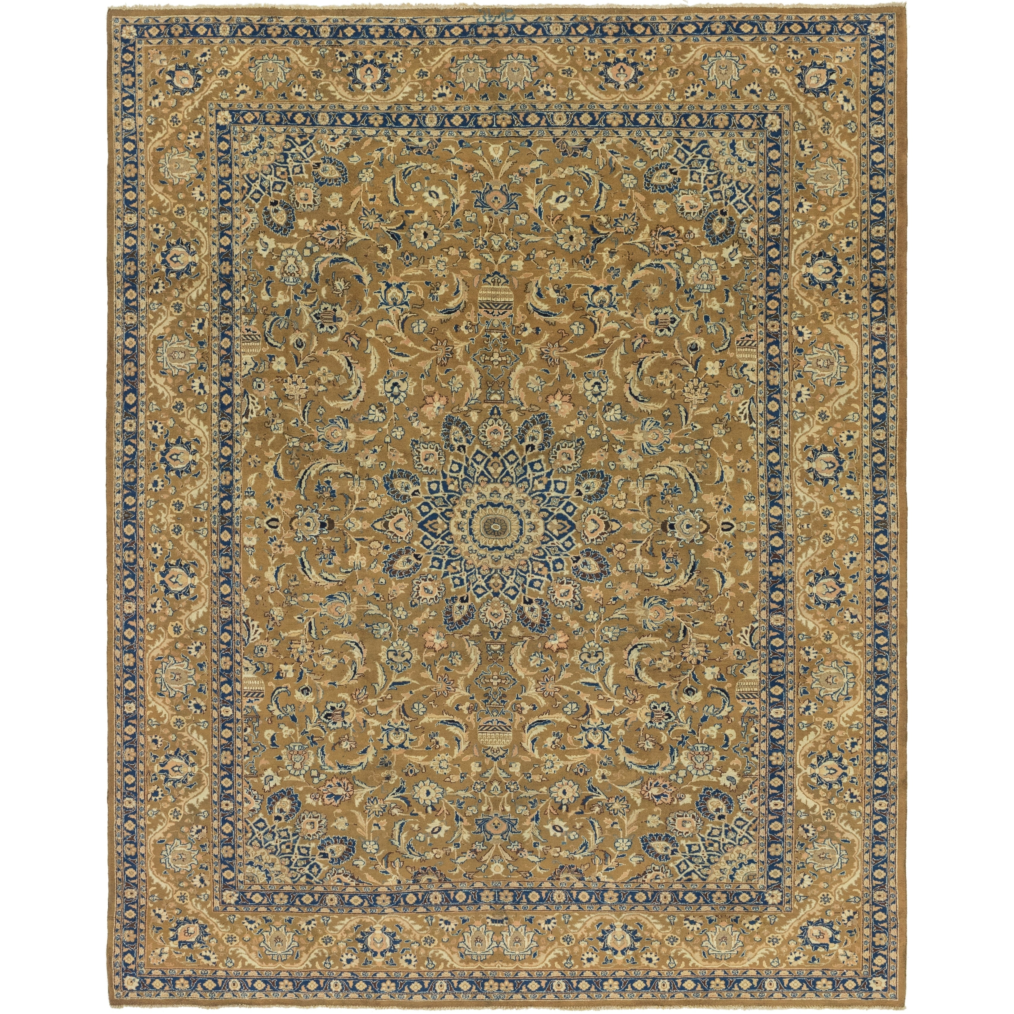 Hand Knotted Kashmar Semi Antique Wool Area Rug - 9 9 x 12 5 (Olive - 9 9 x 12 5)