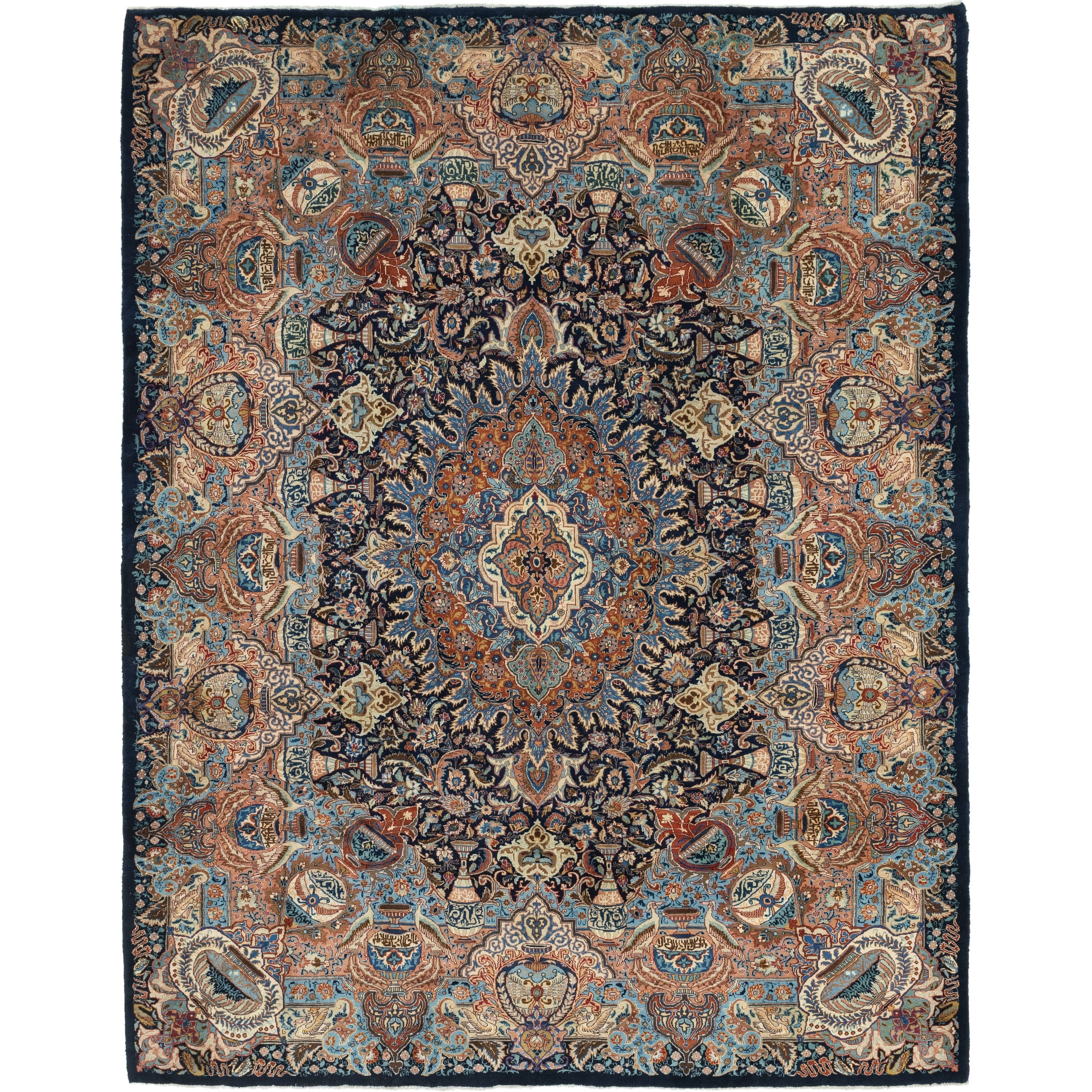 Hand Knotted Kashmar Wool Area Rug - 10 x 13 (Navy blue - 10 x 13)