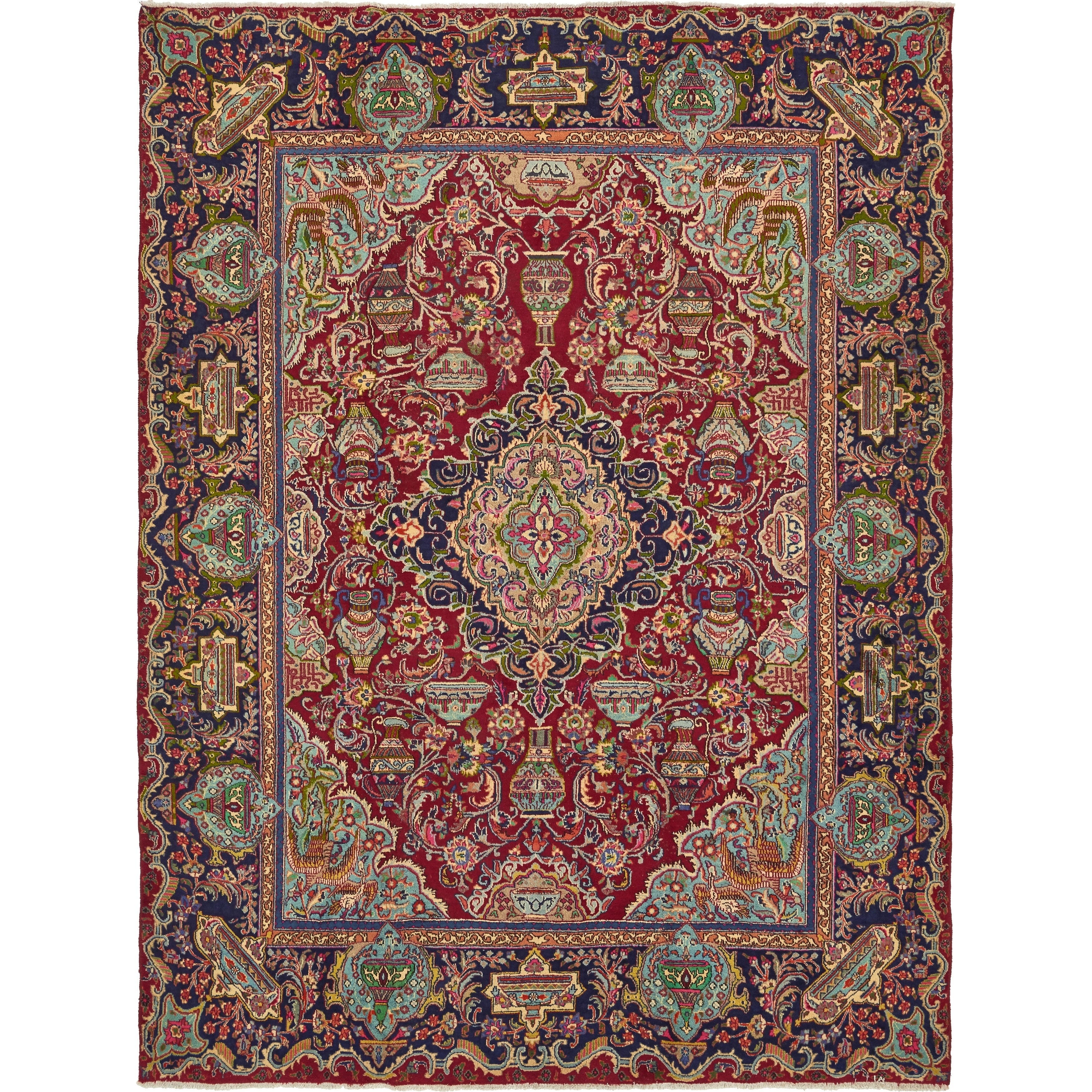 Hand Knotted Kashmar Wool Area Rug - 9 6 x 12 7 (Red - 9 6 x 12 7)