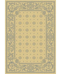 Safavieh Beaches Natural/ Blue Indoor/ Outdoor Rug (2'7 x 5')
