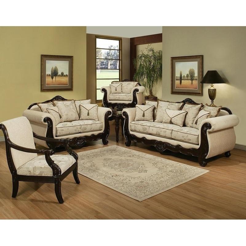 Furniture of America Kirllie 2-Piece Ivory Fabric 3-Piece ...