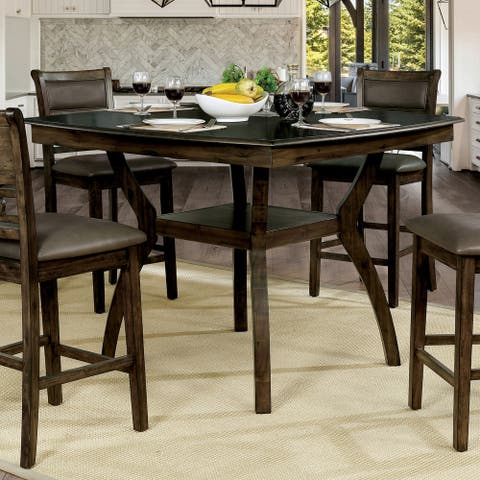 Furniture of America Rore Transitional Walnut Counter Dining Table