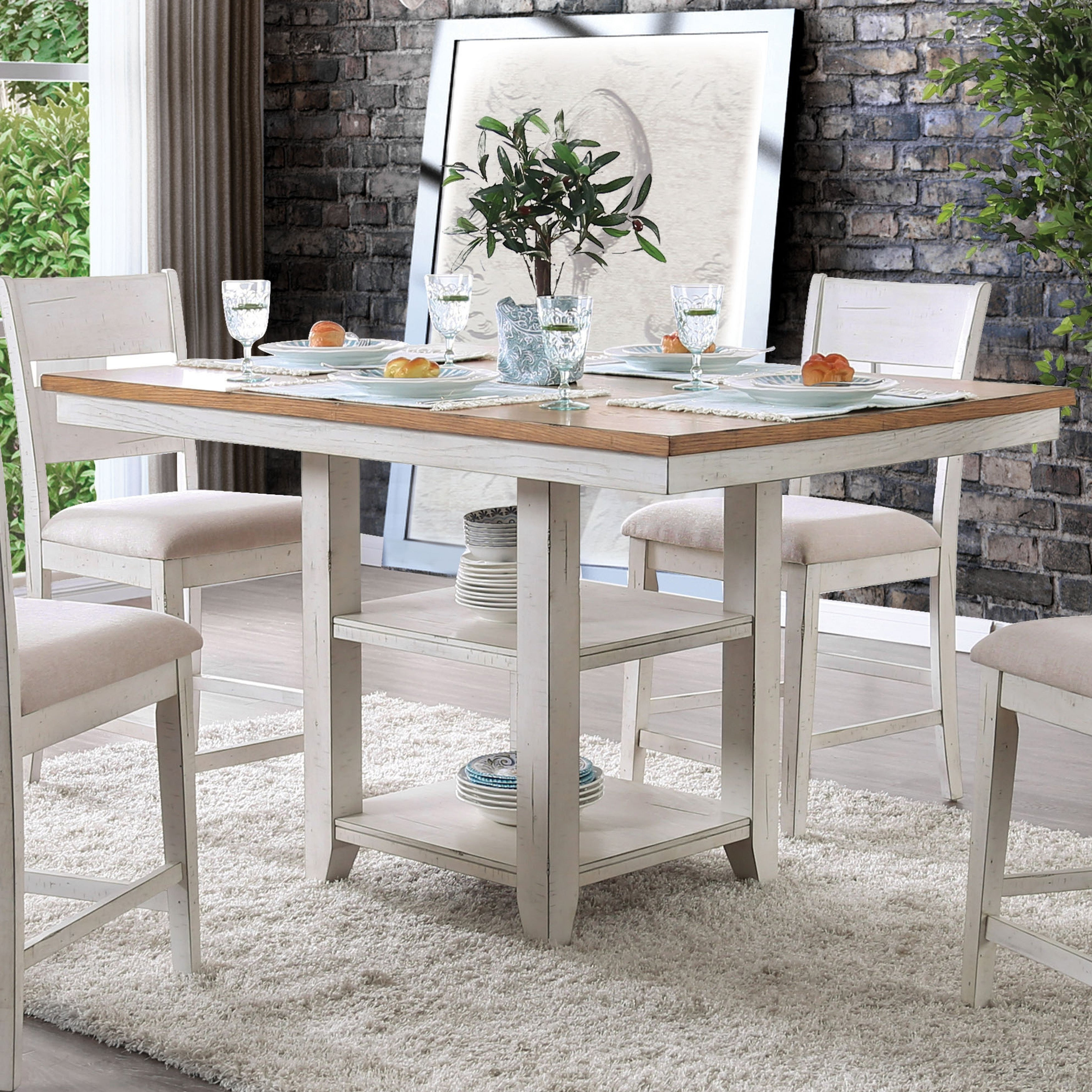 The Gray Barn Argus Hill Antique White Counter Height Dining Table Oak